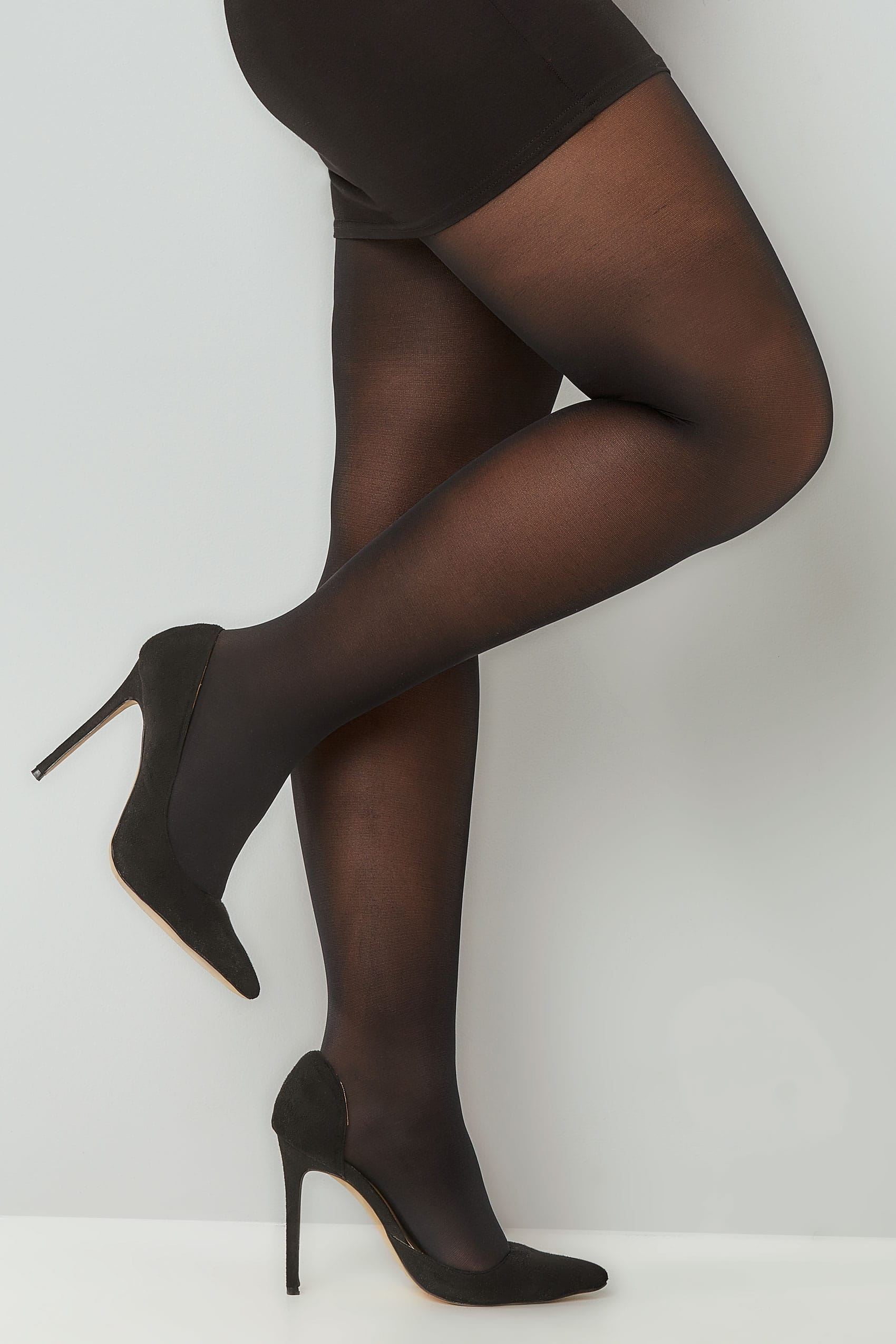 Black Opaque 40 Denier Tights, Plus Size 16 To 32-5012