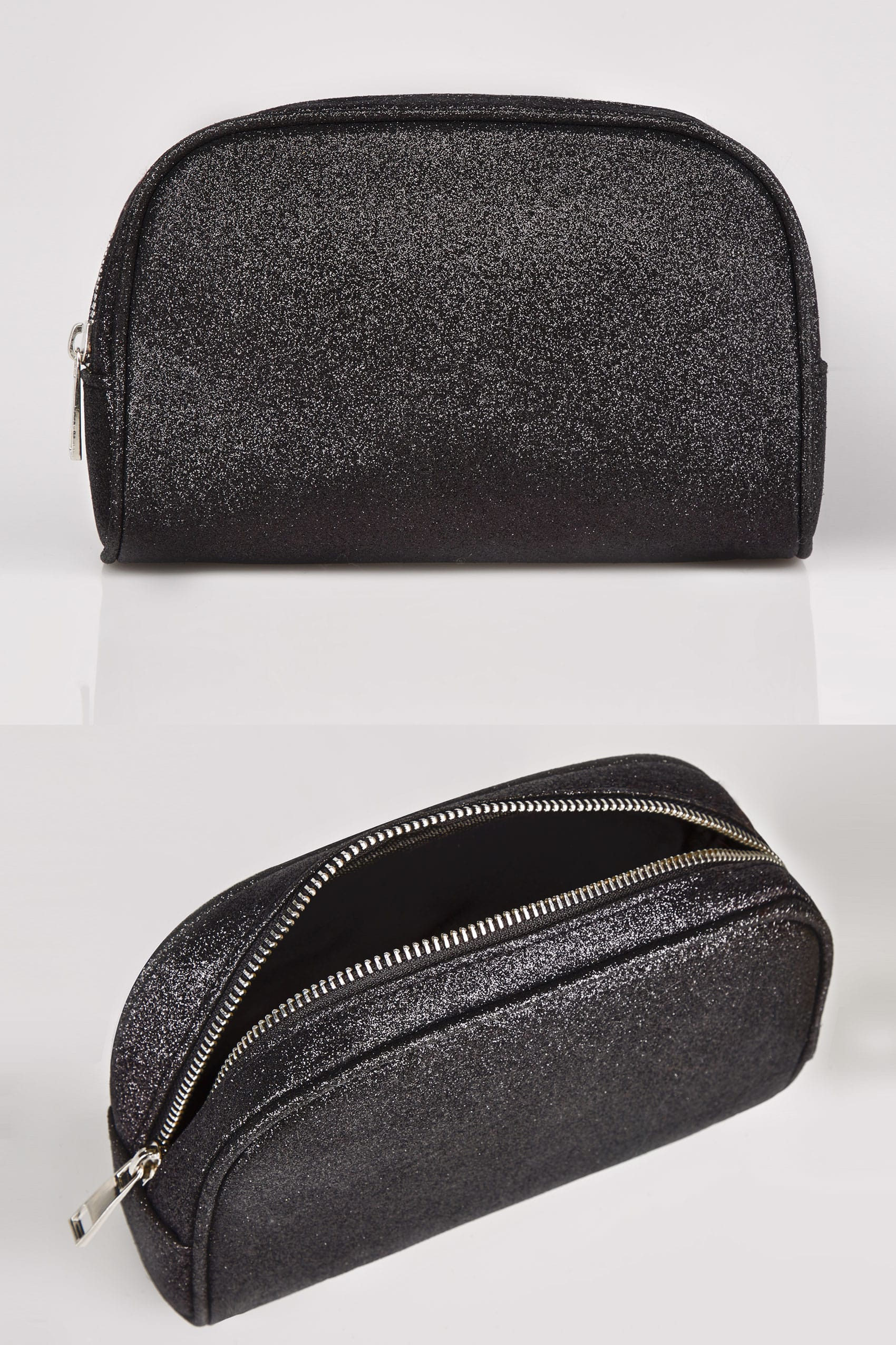 black oval glitter make up bag with zip top. Black Bedroom Furniture Sets. Home Design Ideas
