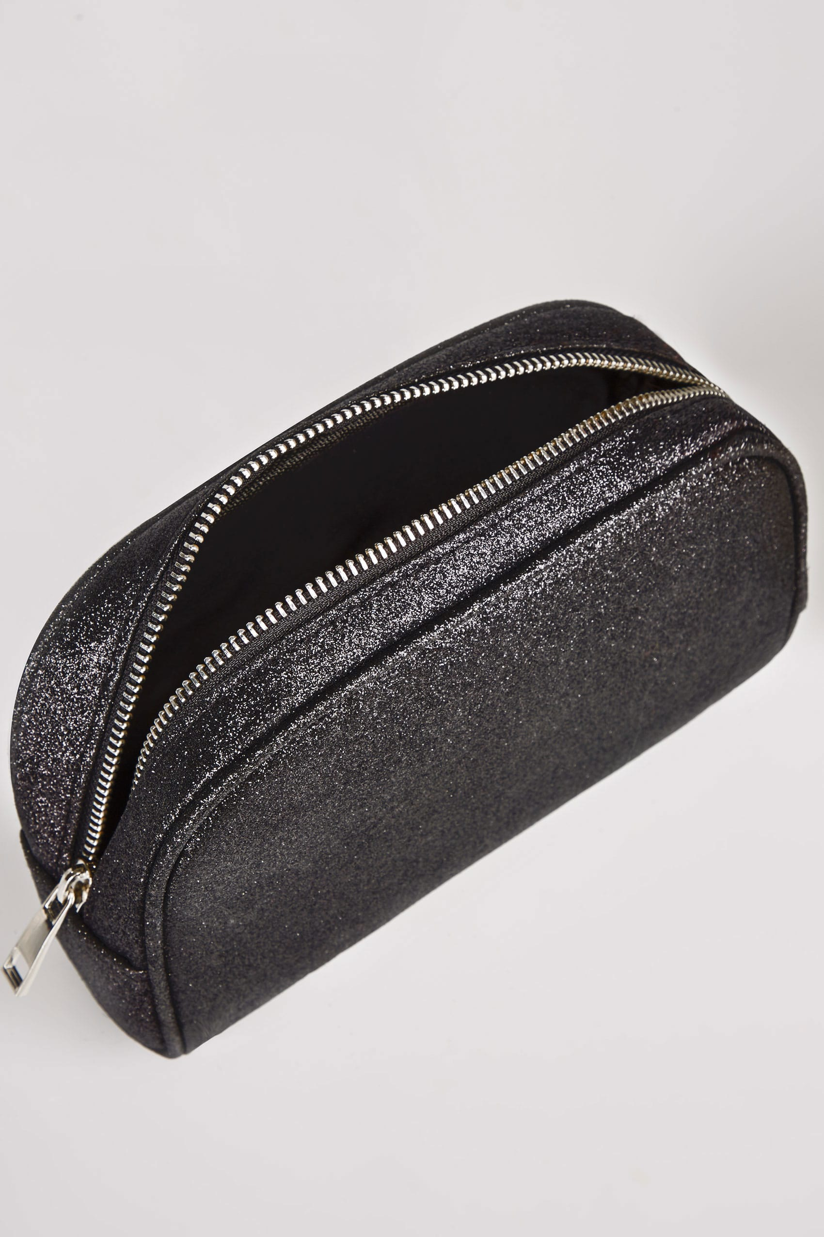 Black oval glitter make up bag with zip top for Buy here pay later