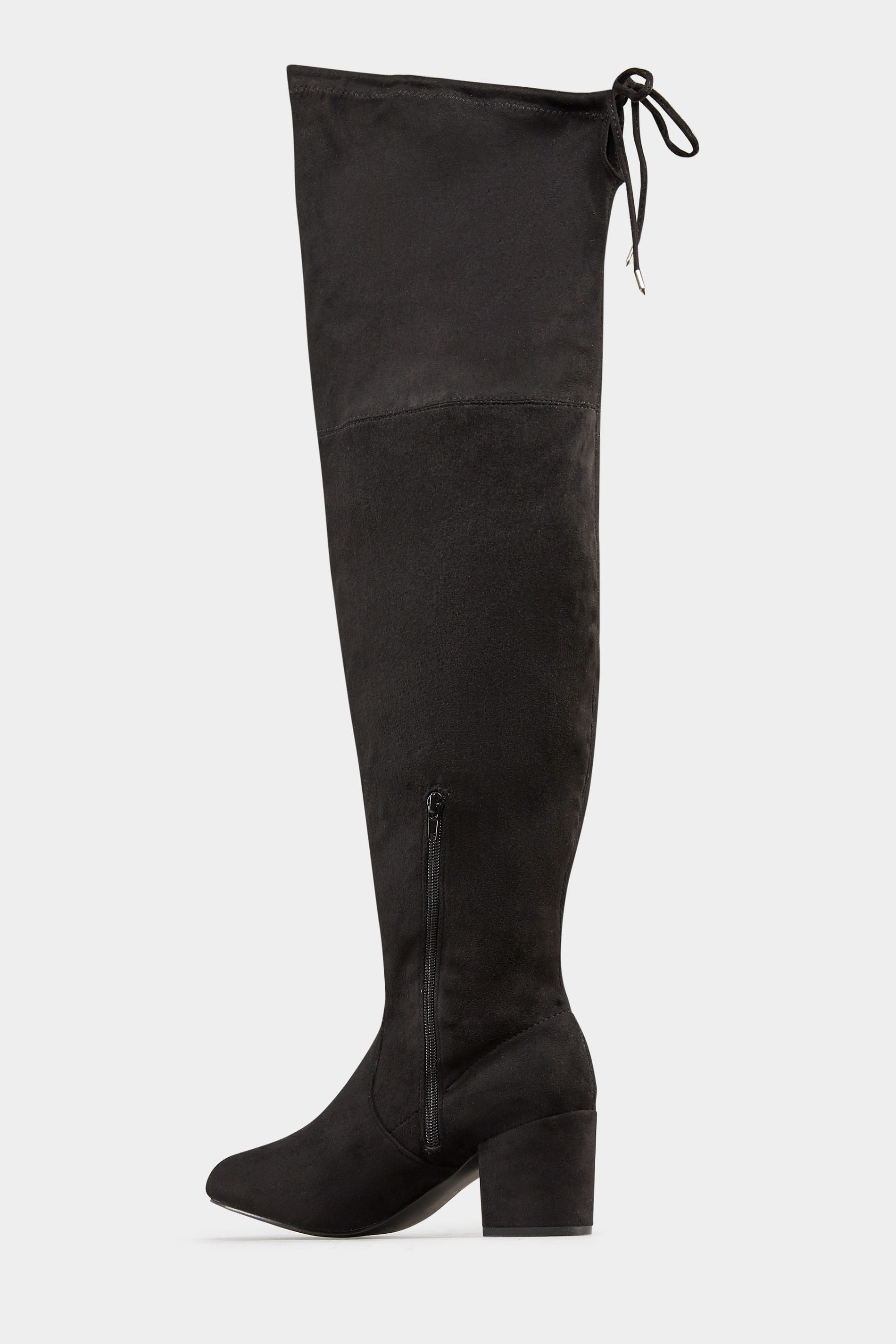 24d51319802 Black Over The Knee Boots In EEE Fit. ‹ › Loading. Hover over the images  above to enlarge