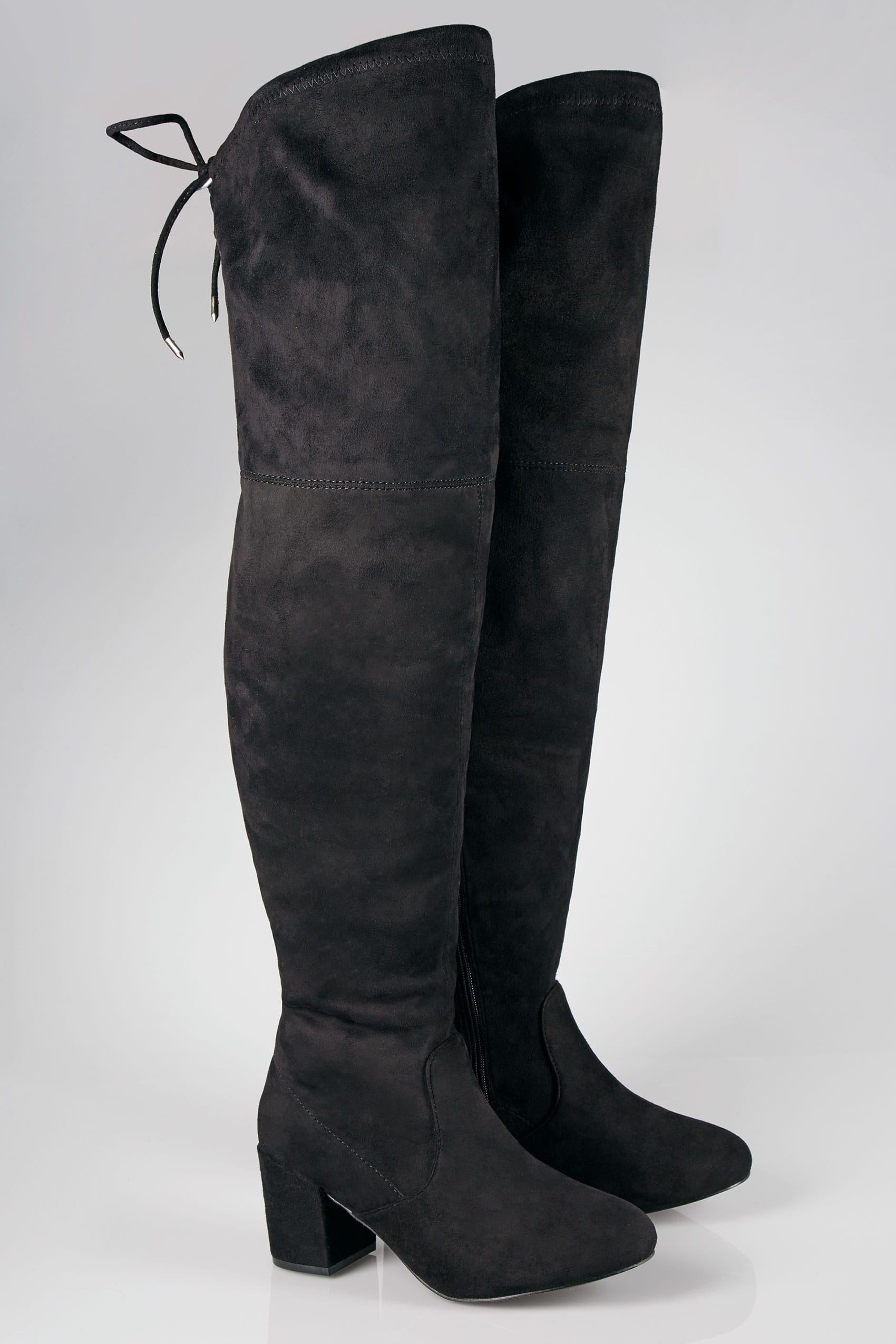 84d537efef1 Black Over The Knee Boots In EEE Fit