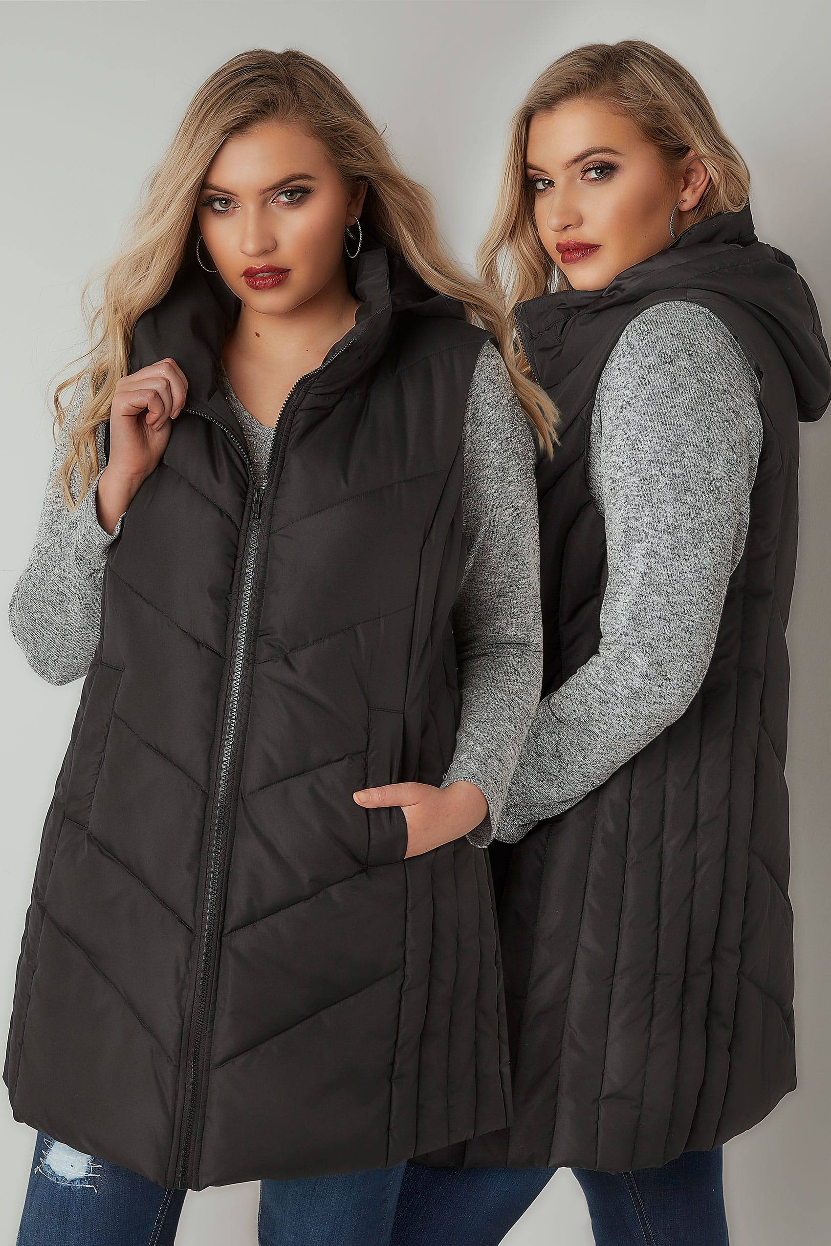 Rooms: Black Padded Chevron Gilet With Foldaway Hood, Plus Size