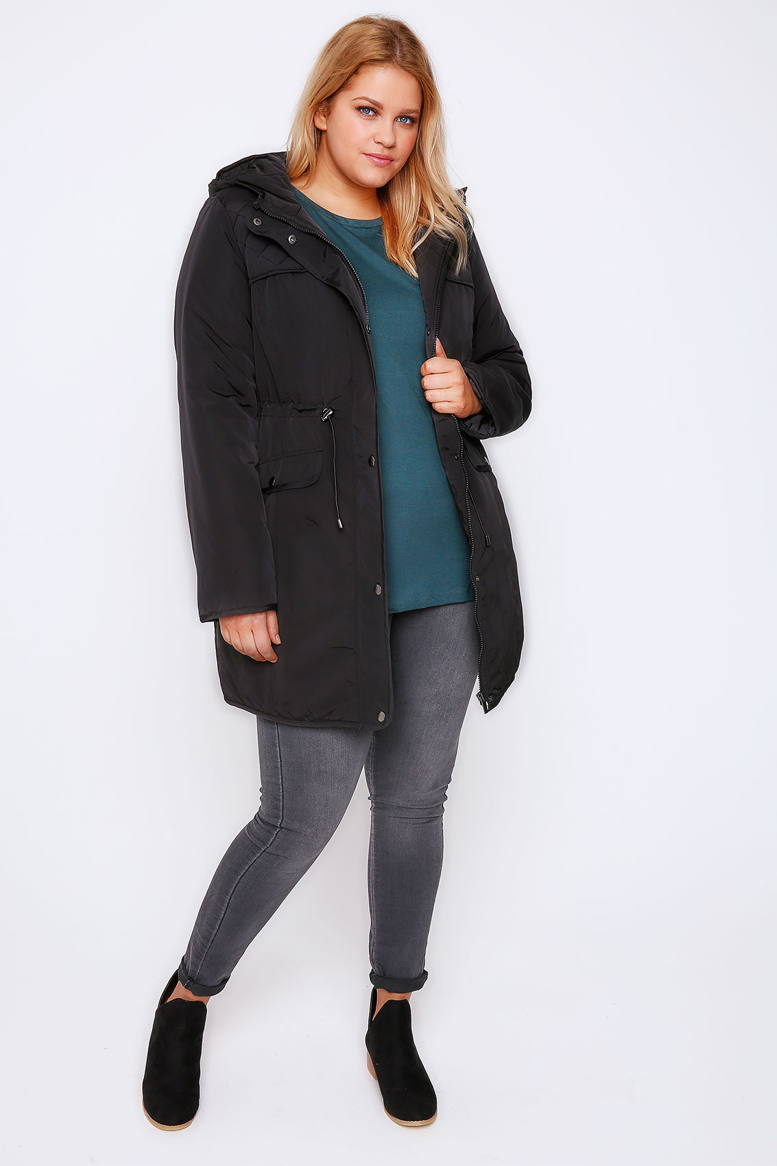 Black Padded Parka Coat With Quilted Shoulders & Hood Plus Size 16 ...