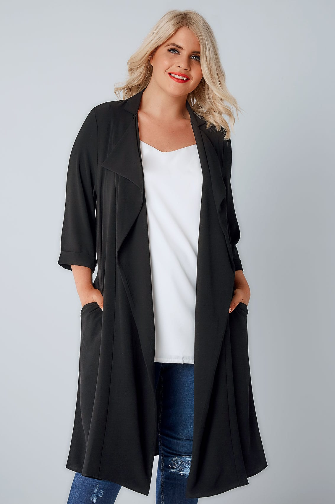 Black Crepe Longline Waterfall Jacket Plus Size 16 to 32