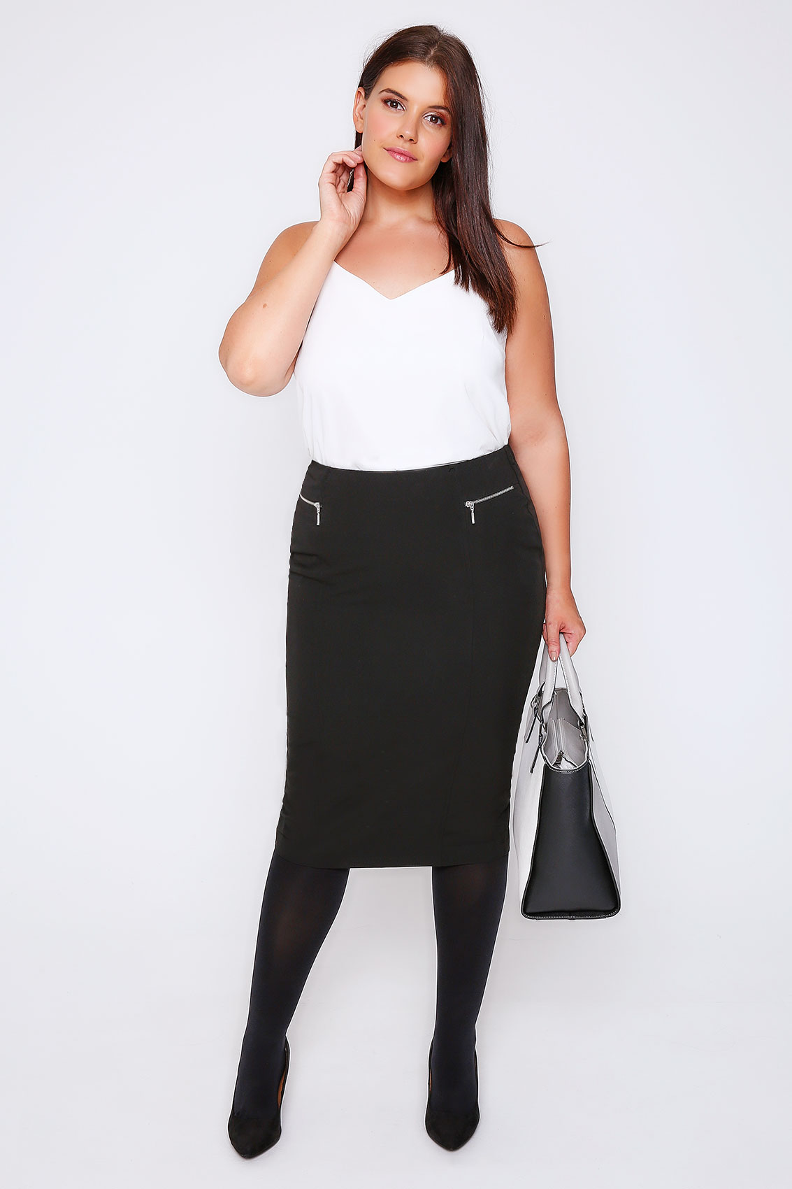 black pencil midi skirt with silver zip details plus size