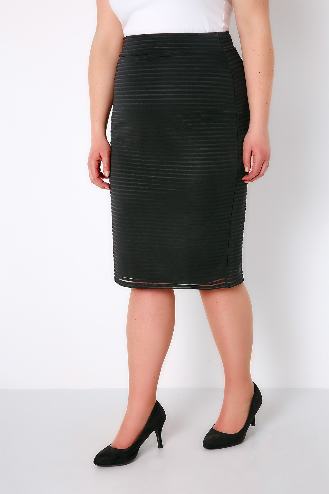 black pencil skirt with striped mesh overlay fully lined