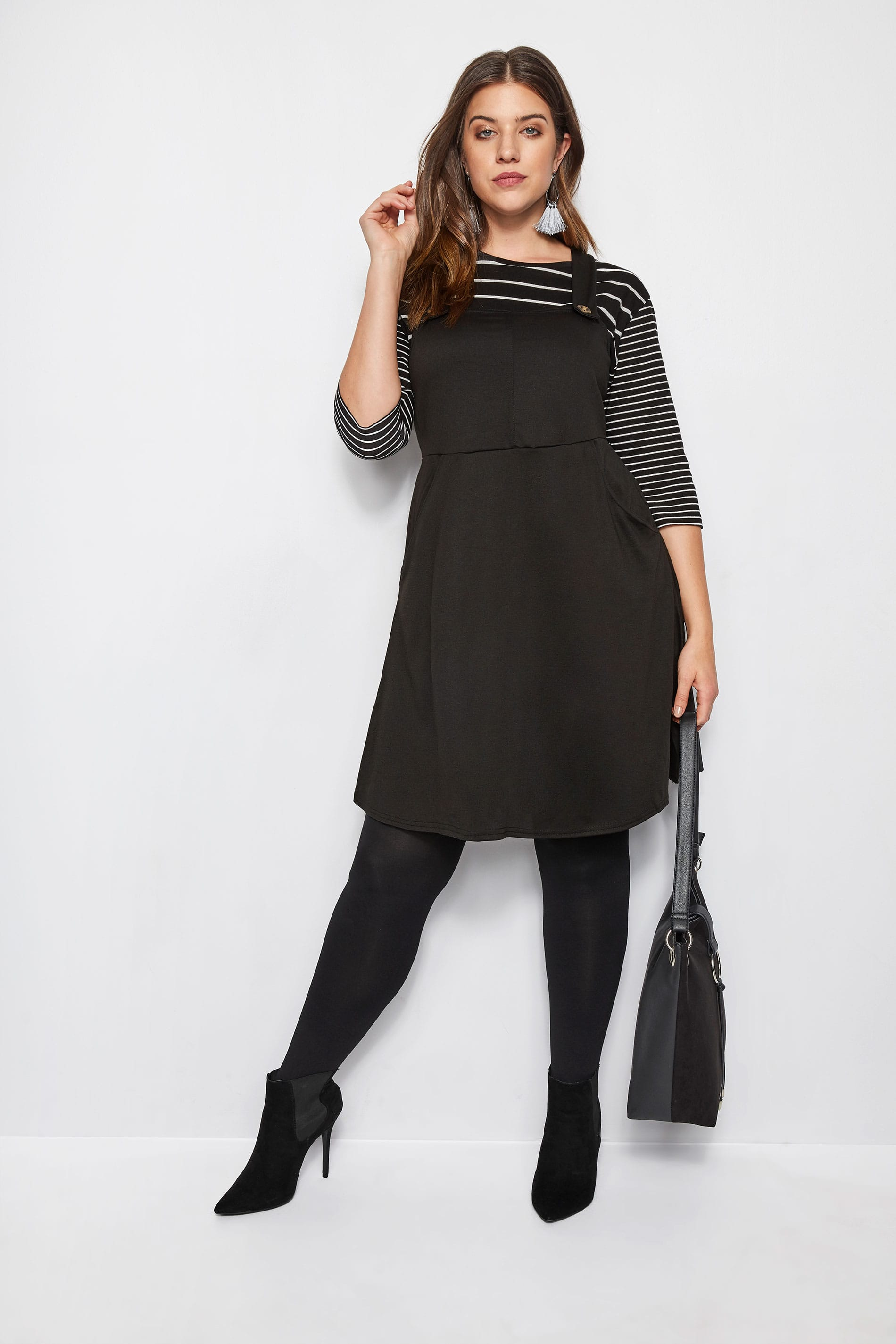 Black Button Pinafore Dress, Plus size 16 to 36