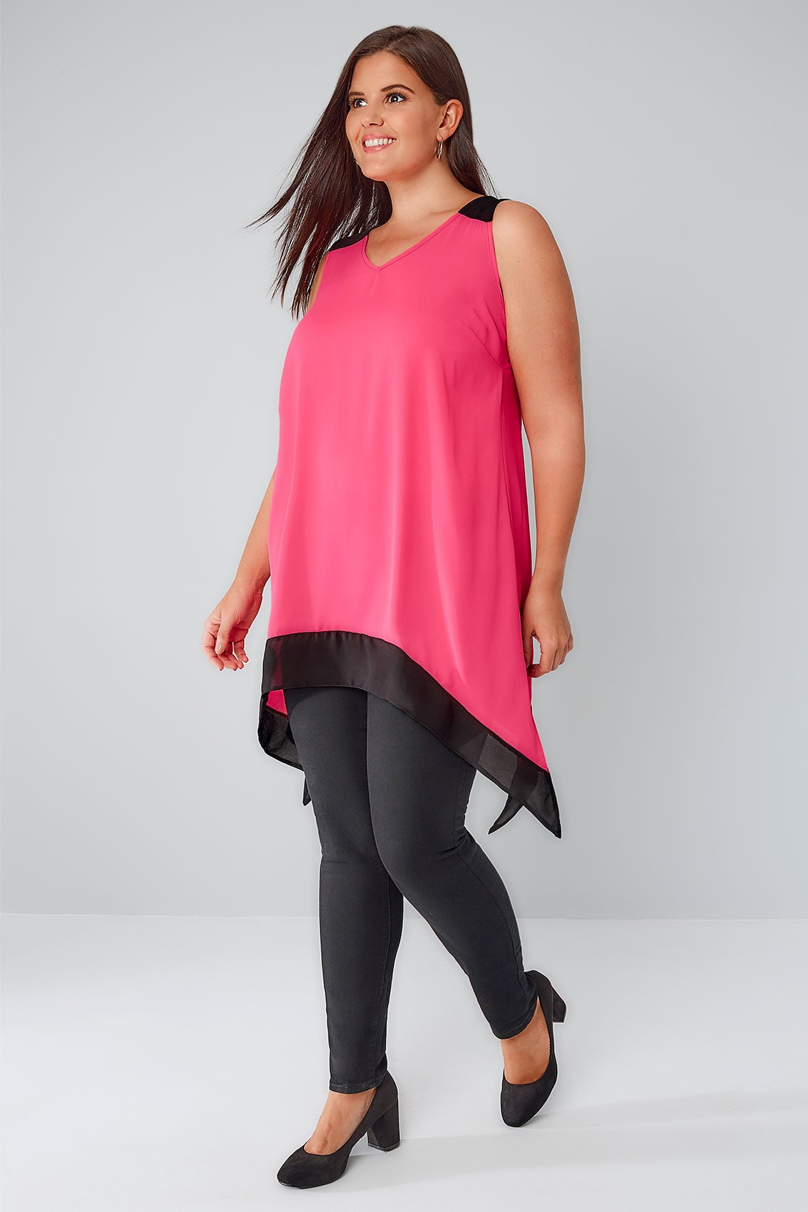 yours london black pink colour block sleeveless top with hanky hem plus size 16 to 32. Black Bedroom Furniture Sets. Home Design Ideas