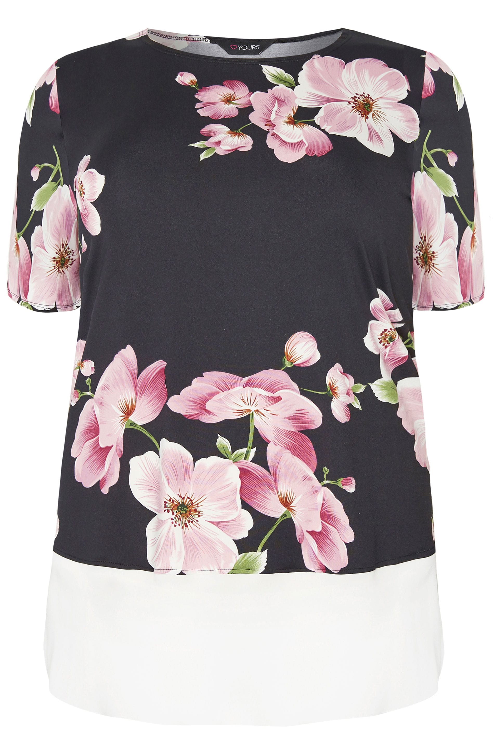 c2f1f62988 Black & Pink Floral Jersey Top | Sizes 16 to 36 | Yours Clothing