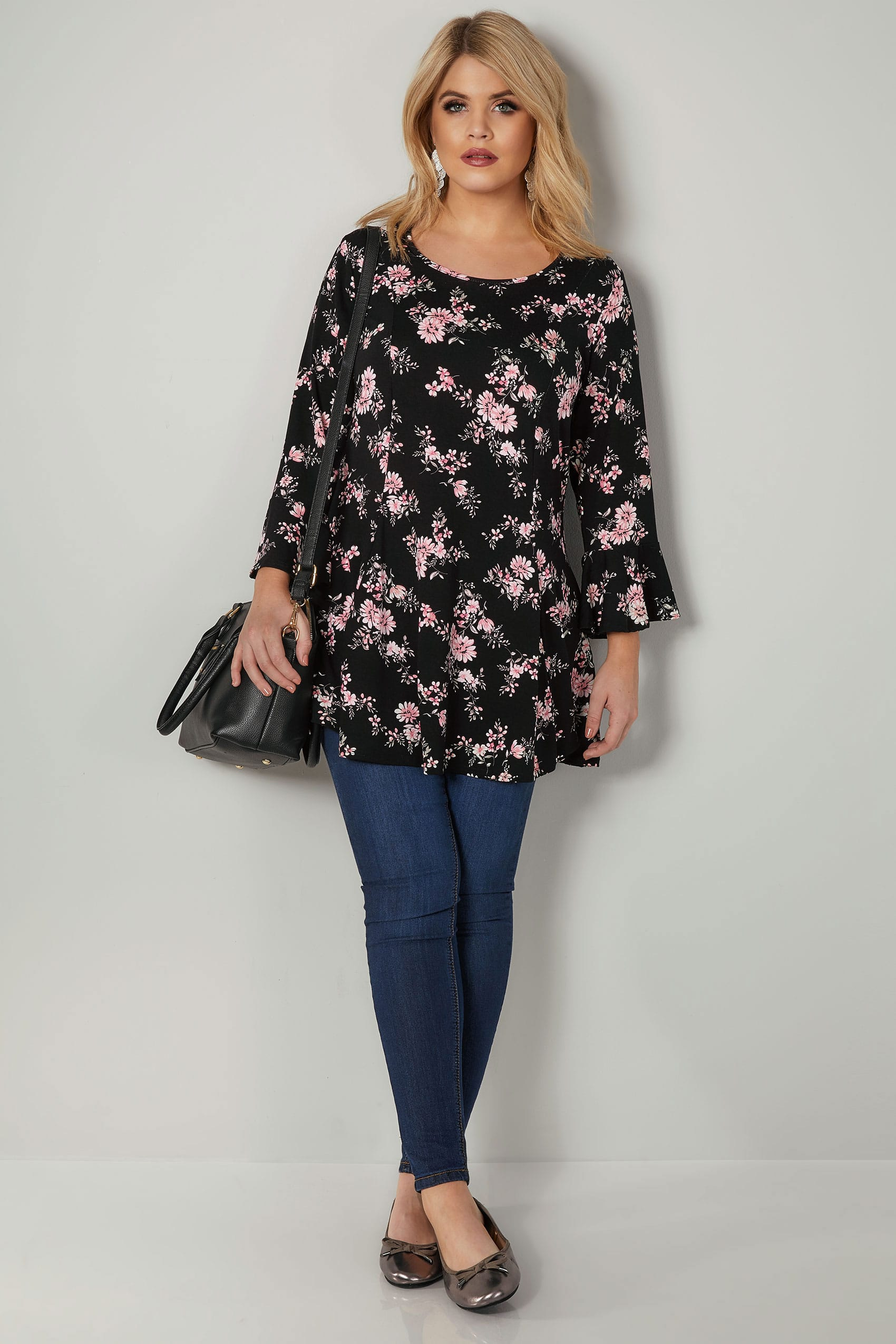 11aff57eed85a4 Black & Pink Floral Print Longline Peplum Top With Flute Sleeves ...