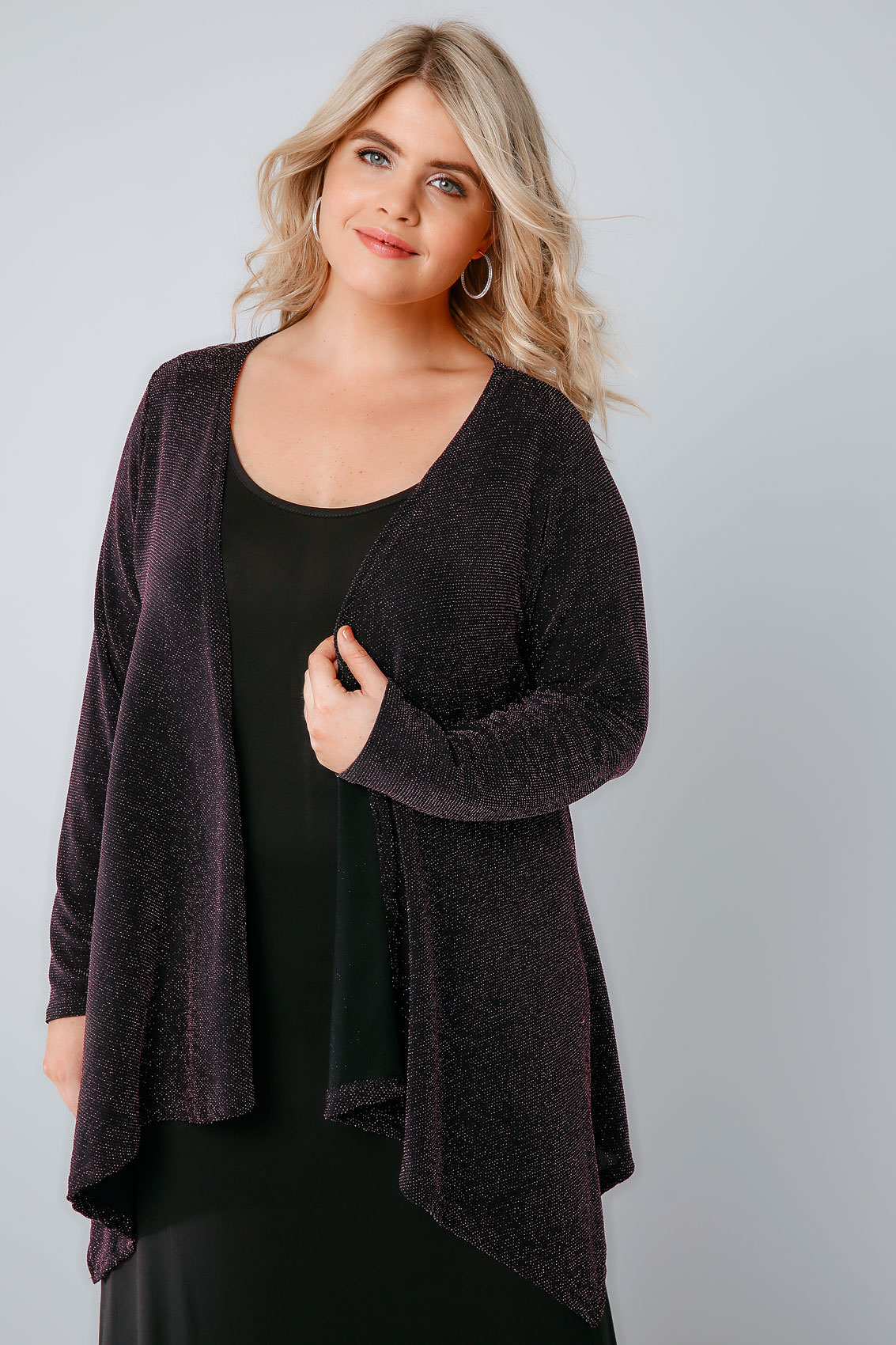Black & Pink Sparkle Waterfall Cardigan, Plus size 16 to 32
