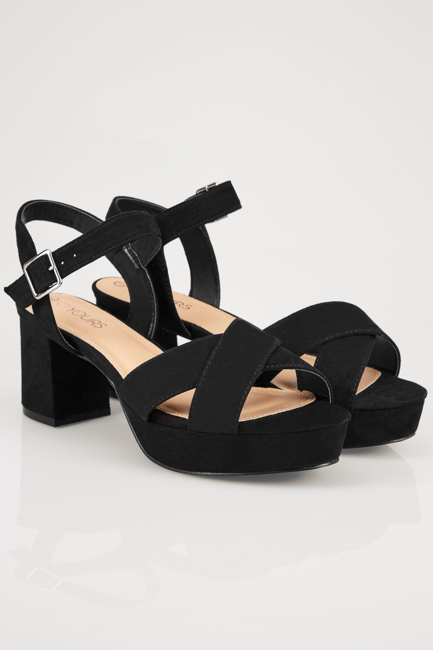 fe36f489c Black Cross Front Heeled Platform Sandals In EEE Fit