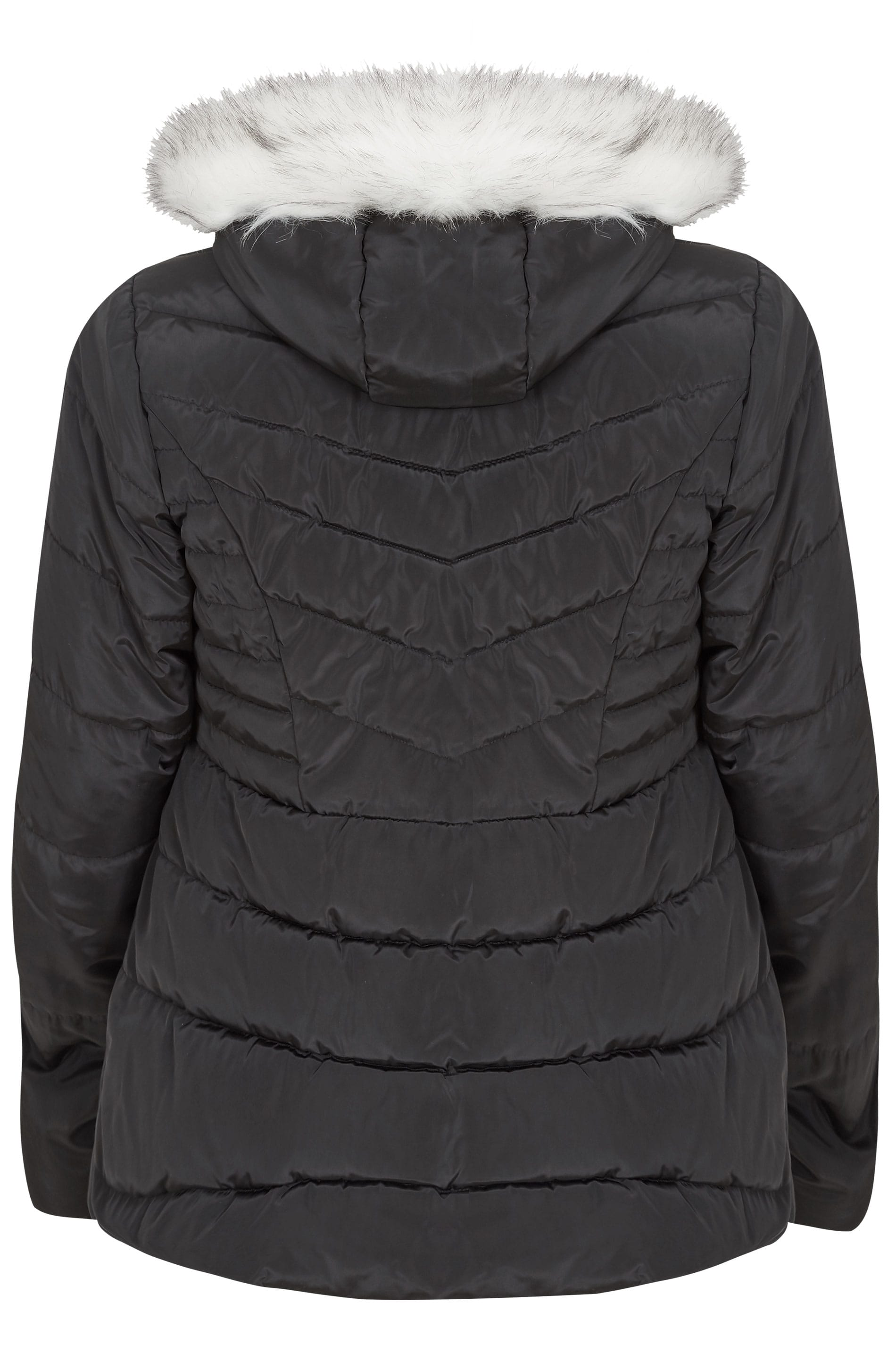 Black Puffa Coat With Faux Fur Trim Hood, Plus size 16 to 36