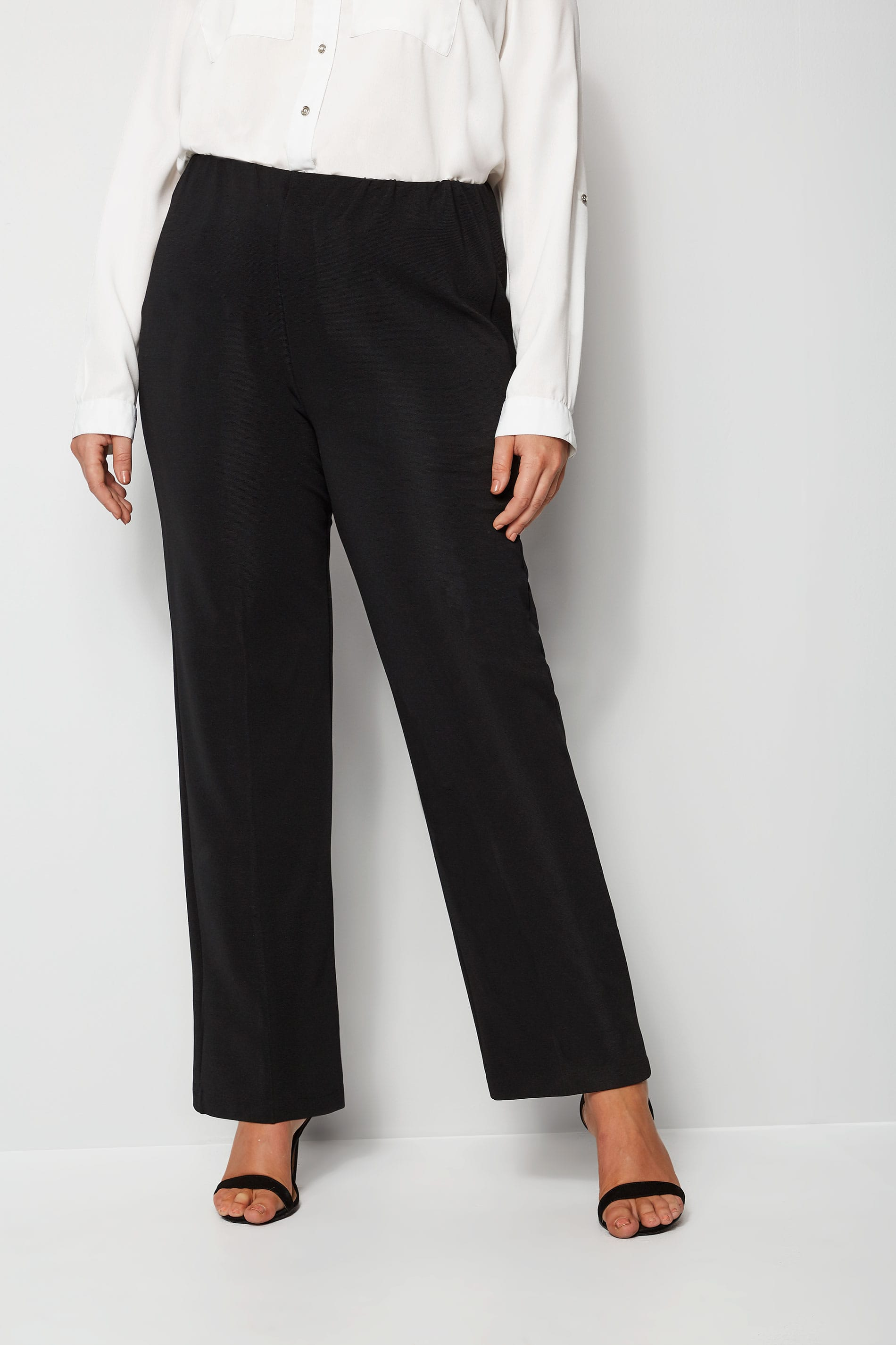 Black Pull On Ribbed Bootcut Trousers Petite Plus Size