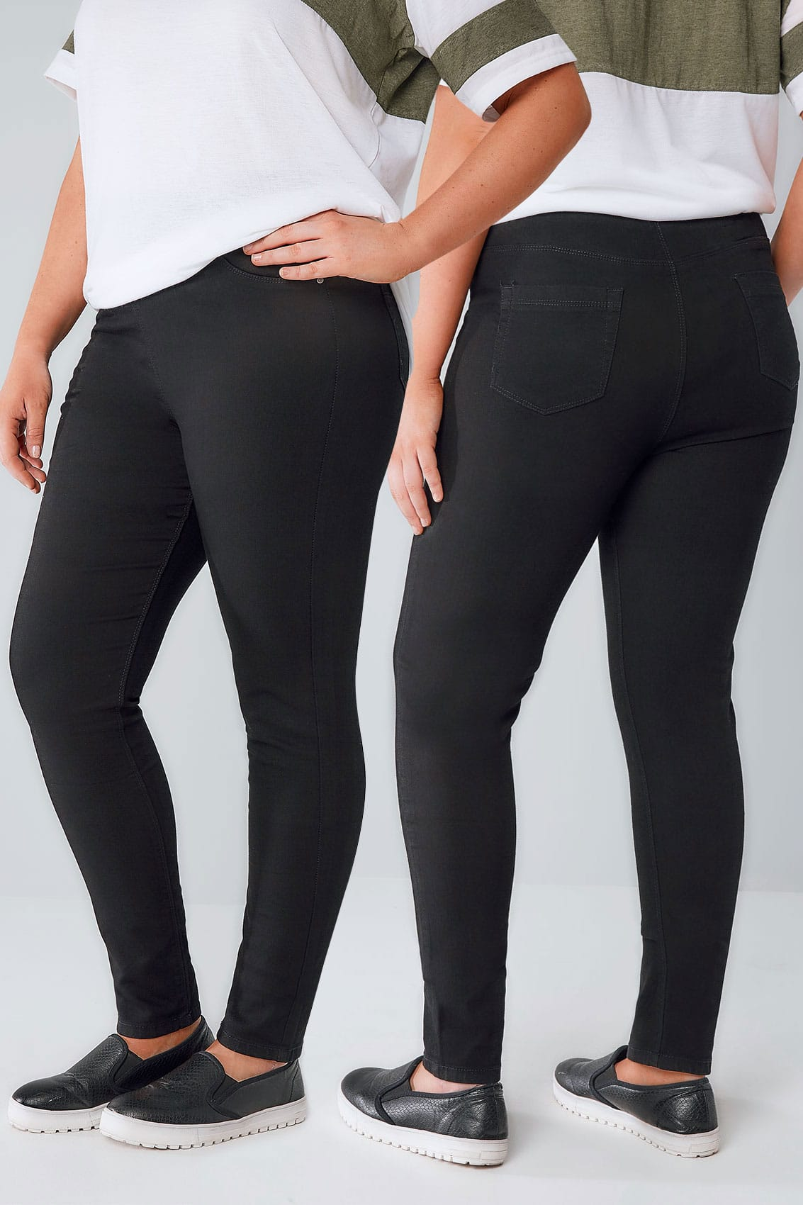 black pull on stretch jenny jeggings plus size 14 to 32