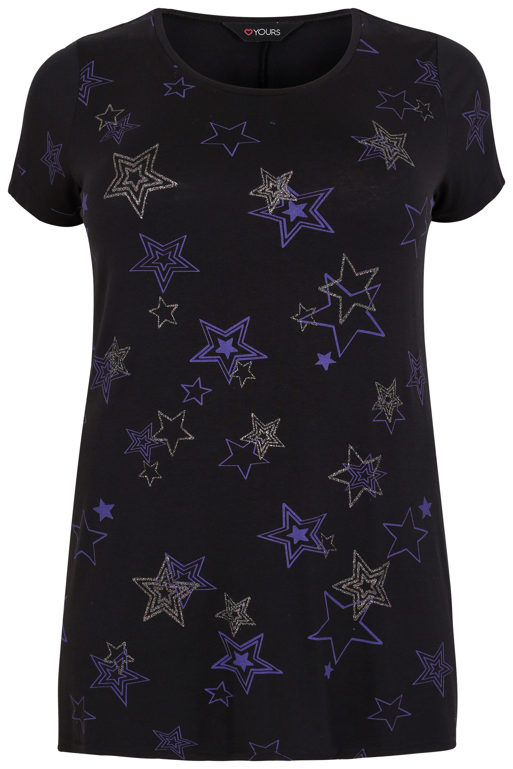 Black blue glitter star print t shirt plus size 16 to 36 for Quick print t shirts