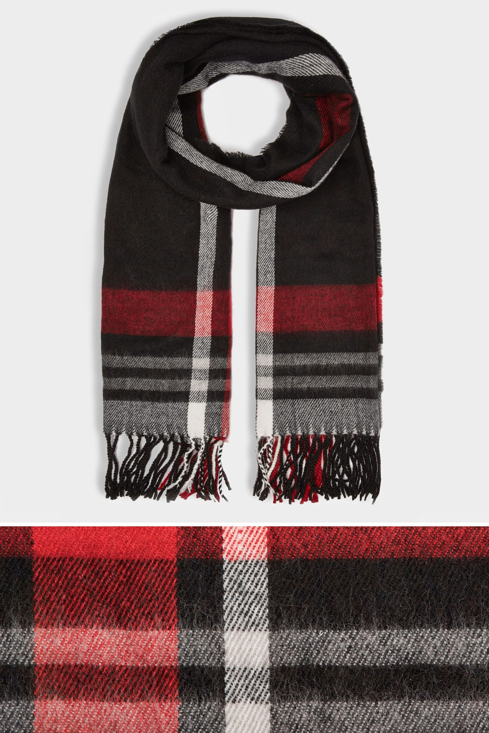 work from home jobs with no background check black red check oversized blanket scarf with tassels 6091