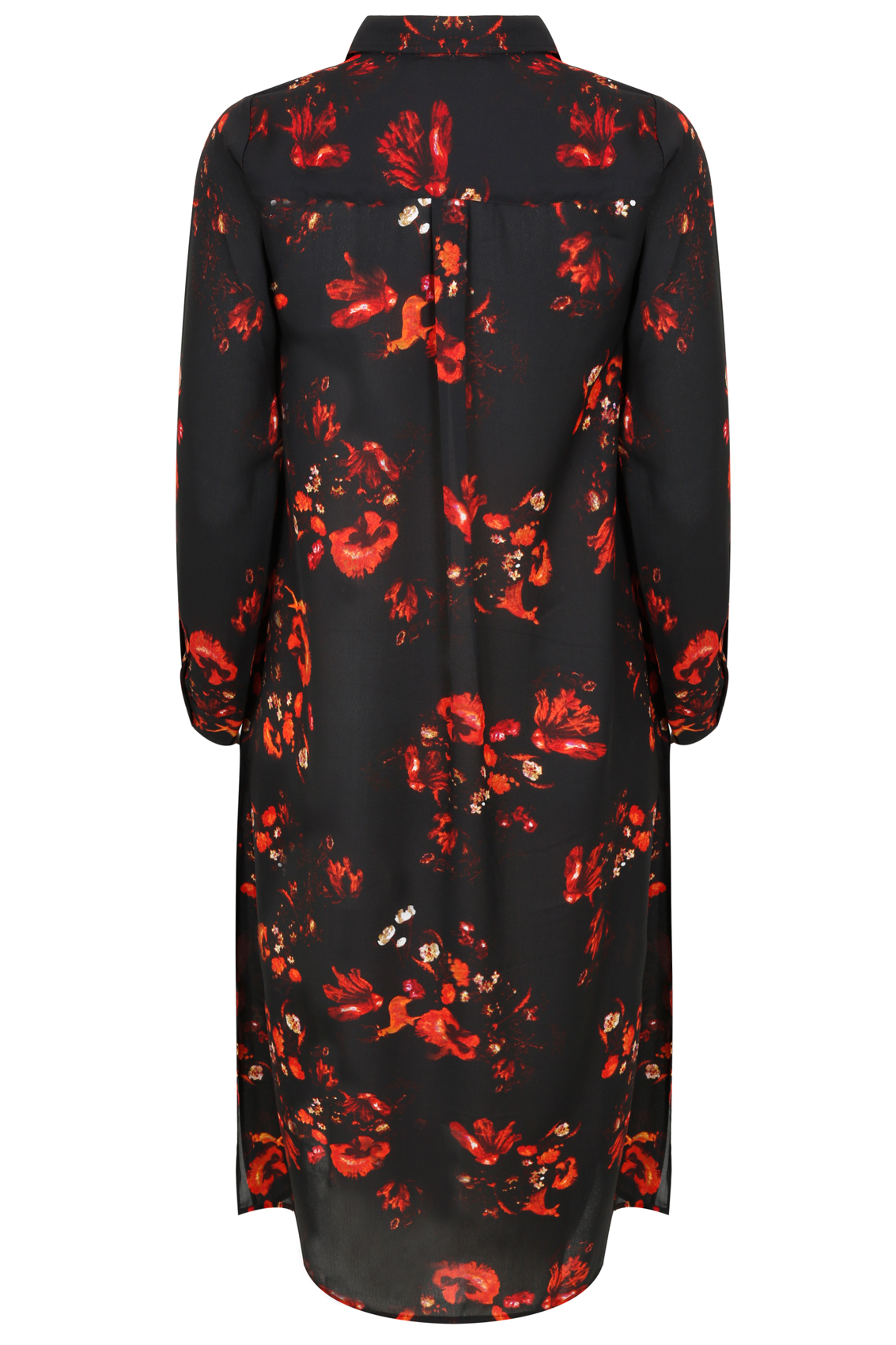Black red floral print maxi shirt with side splits plus for Black floral print shirt