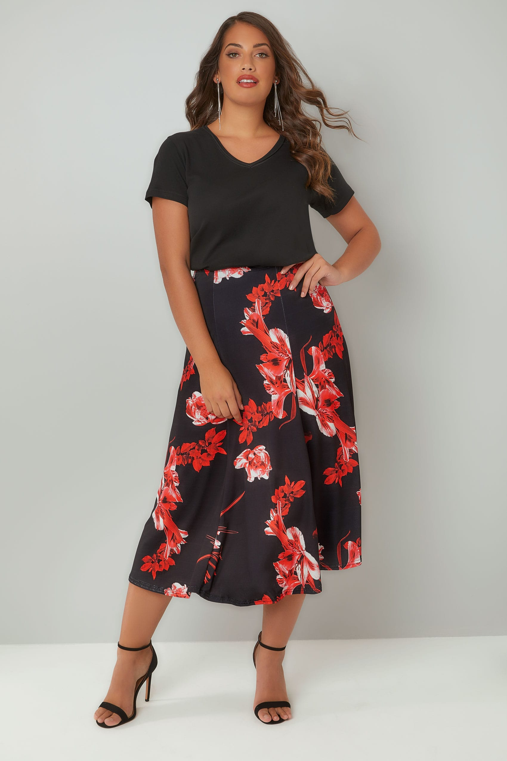 Black & Red Floral Print Midi Jersey Skirt, Plus size 16 to 36