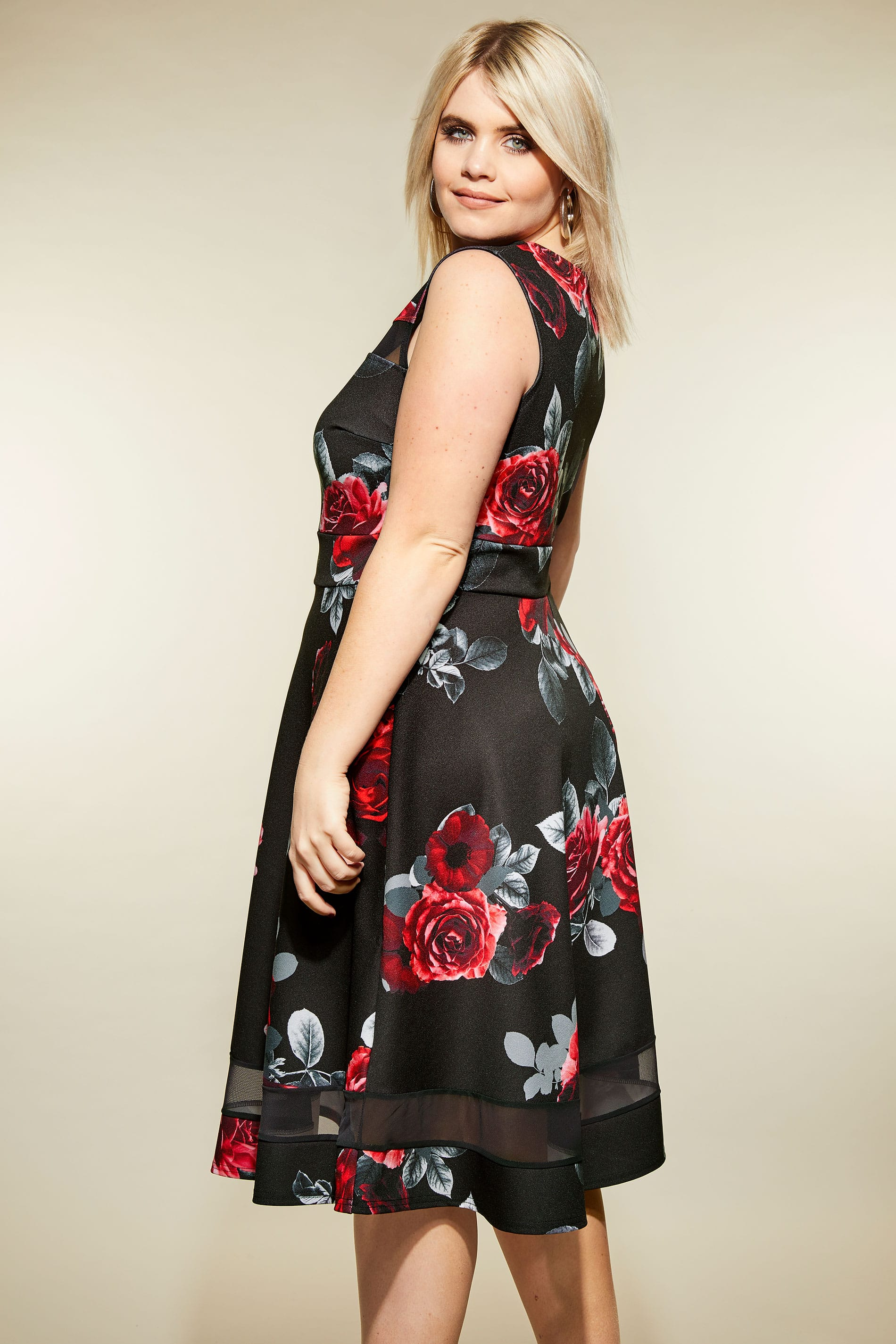 707f66e4ca2 Black   Red Floral Scuba Skater Dress