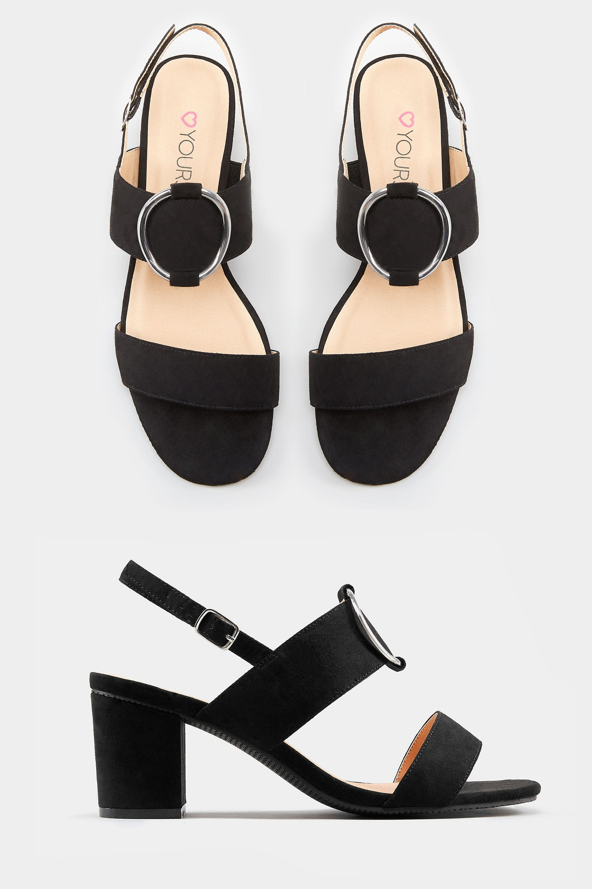 dd448d18 Wide Fit Black Ring Block Heeled Sandals | Sizes 5EEE to 10EEE ...