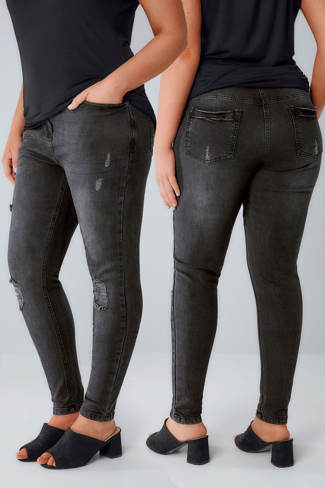 Black Rip Detail Skinny Jeans Plus Size 14 To 28-9911