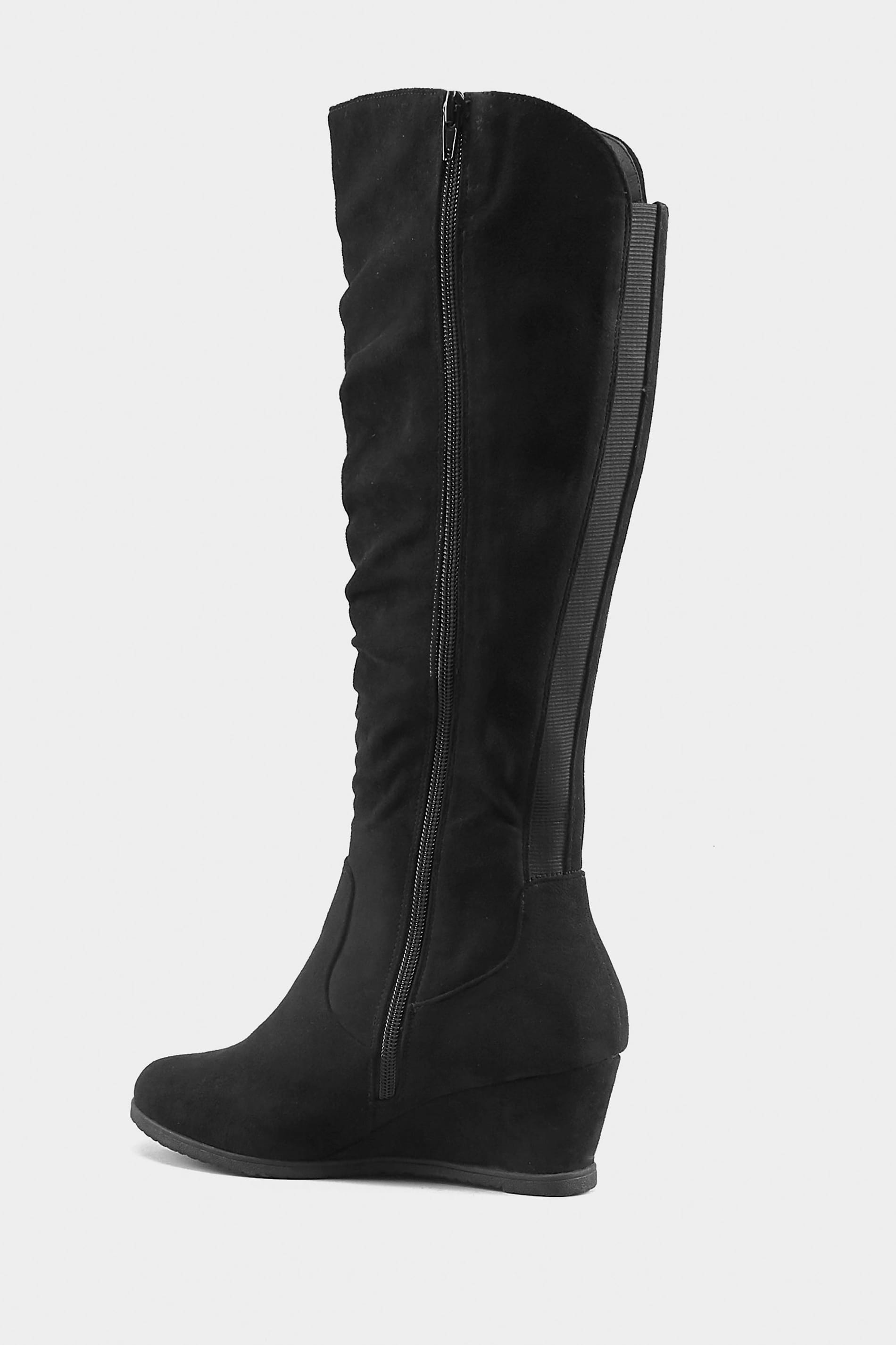 Black Ruched Knee High Wedge Boot In EEE Fit, Wide Fit ...