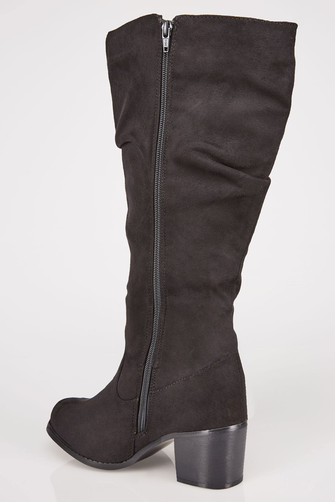 Black Ruched Knee High Block Heel Boots With Xl Calf In