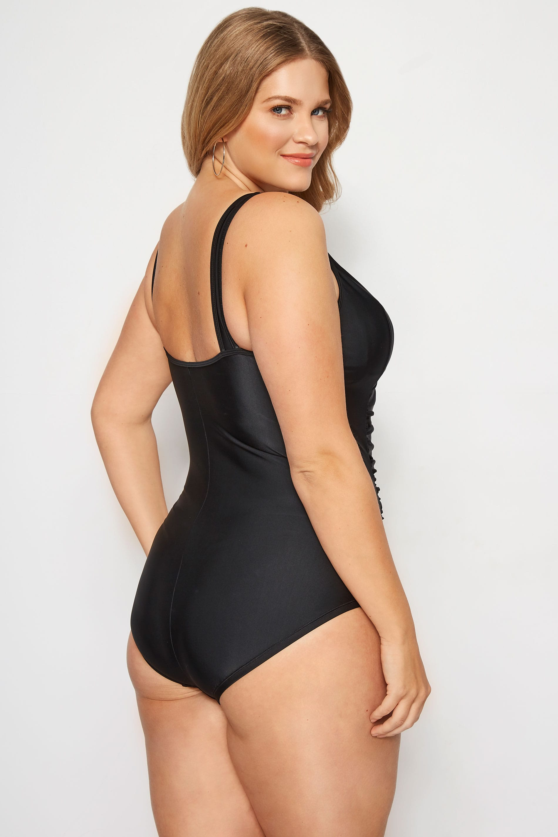f2cd215f241 Plus Size Black Ruched Mesh Swimsuit