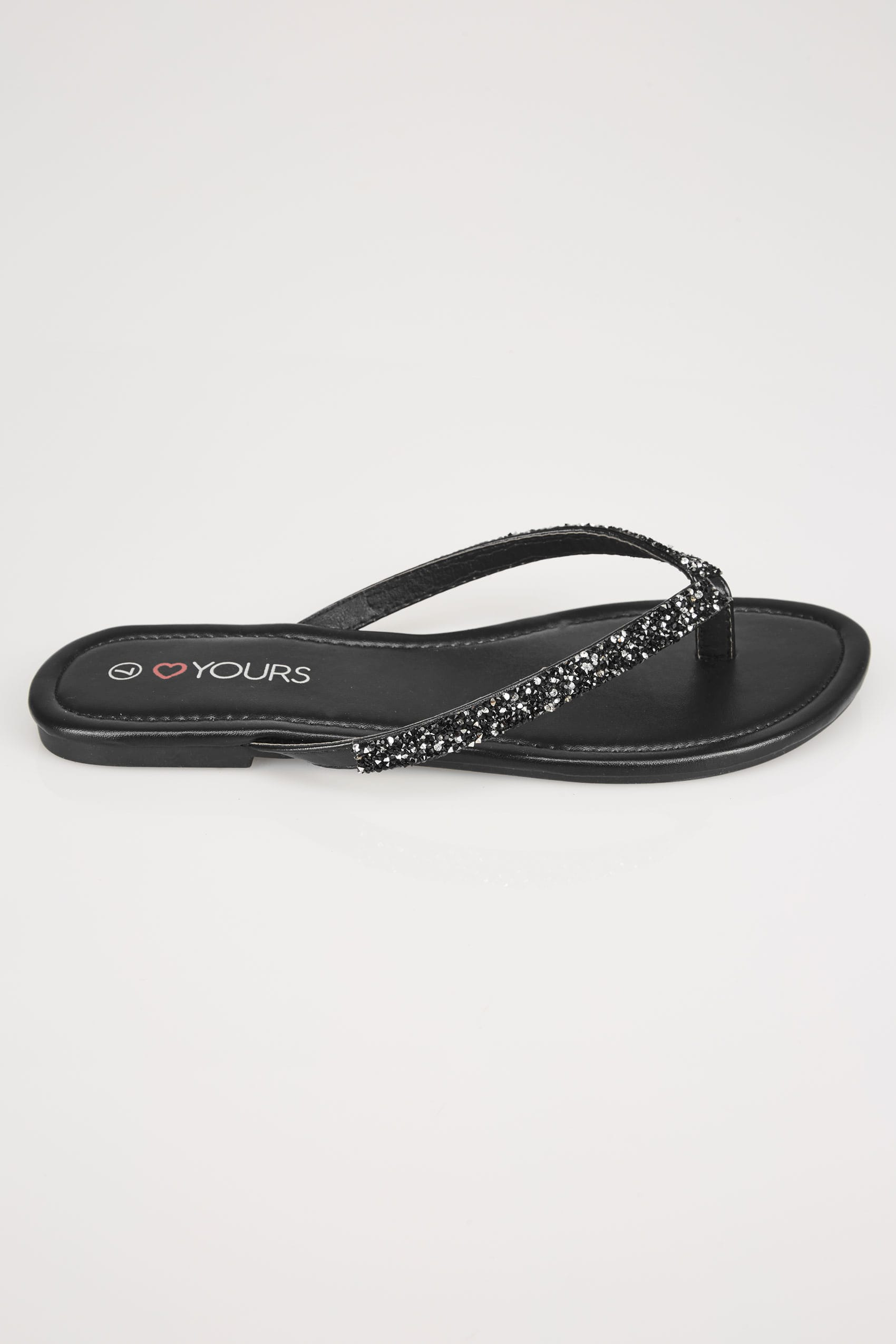 Rooms: Black Sandals With Glitter Straps In EEE Fit