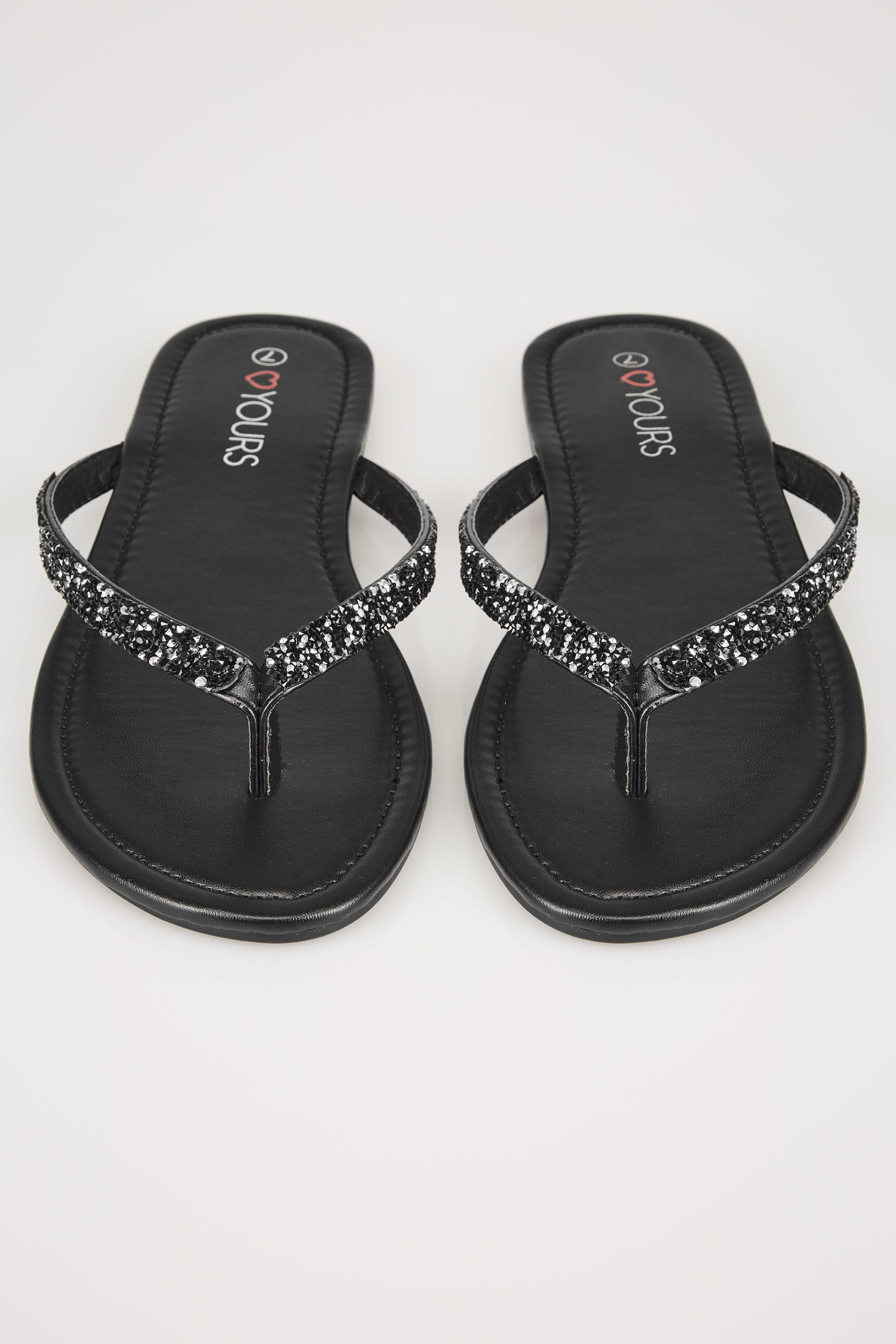Black Sandals With Glitter Straps In Eee Fit-7672