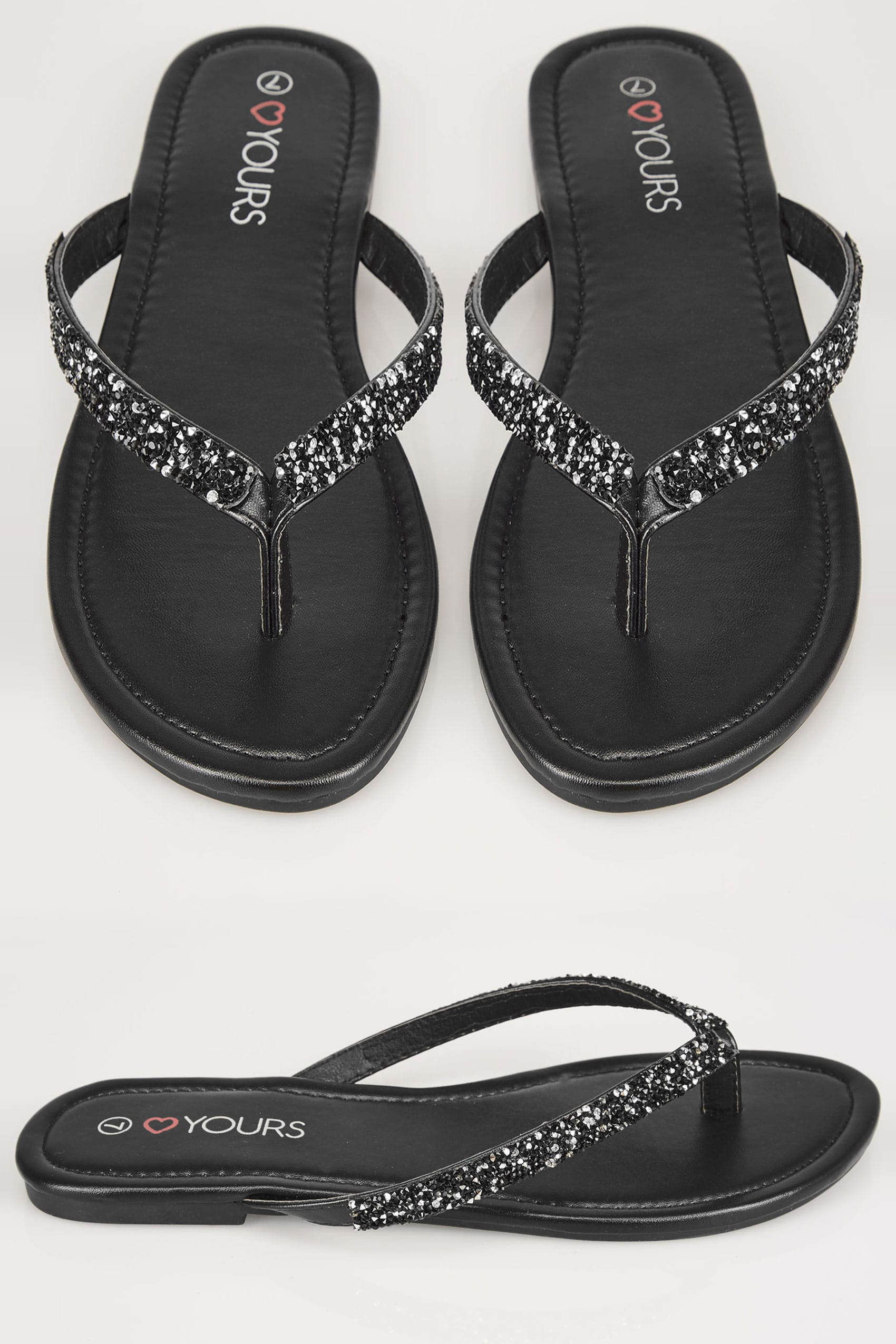 Black Sandals With Glitter Straps In Eee Fit-8821
