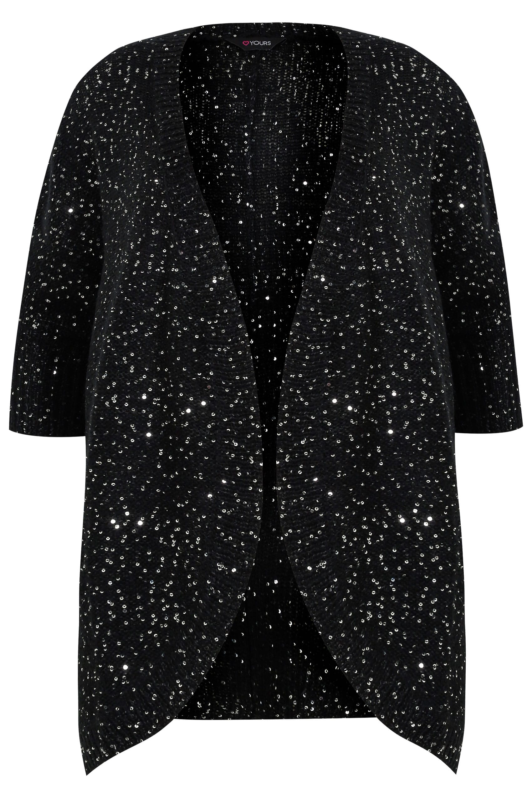 Black Sequin Embellished Knitted Batwing Cardigan, Plus size 16 to 36