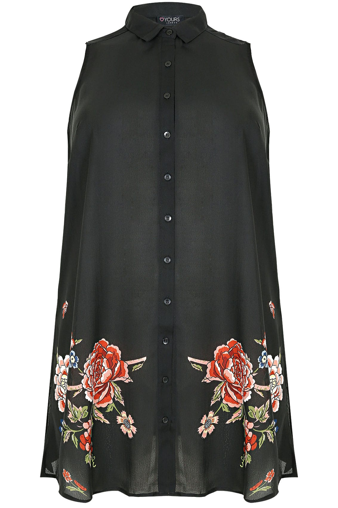Yours london black sheer sleeveless shirt with floral for Black floral print shirt