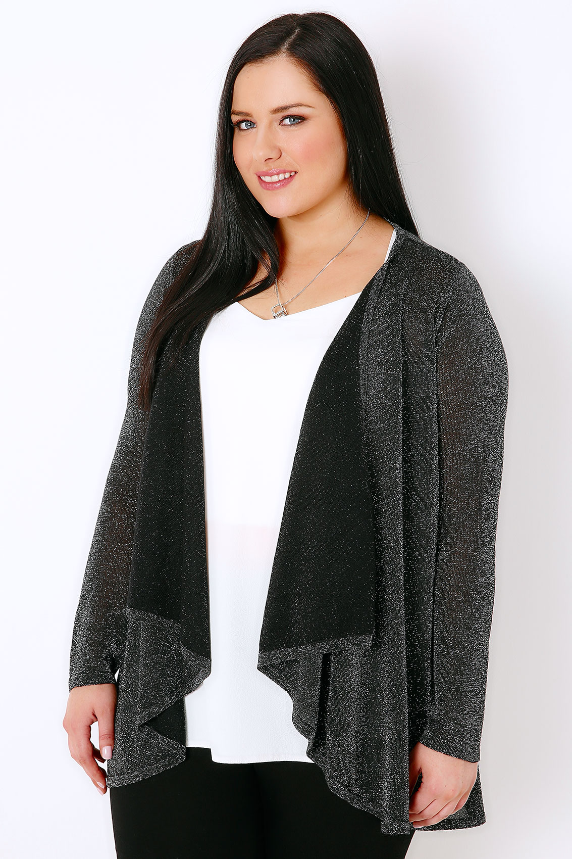 Black & Silver Sparkle Cardigan With Waterfall Front, Plus size 16 ...