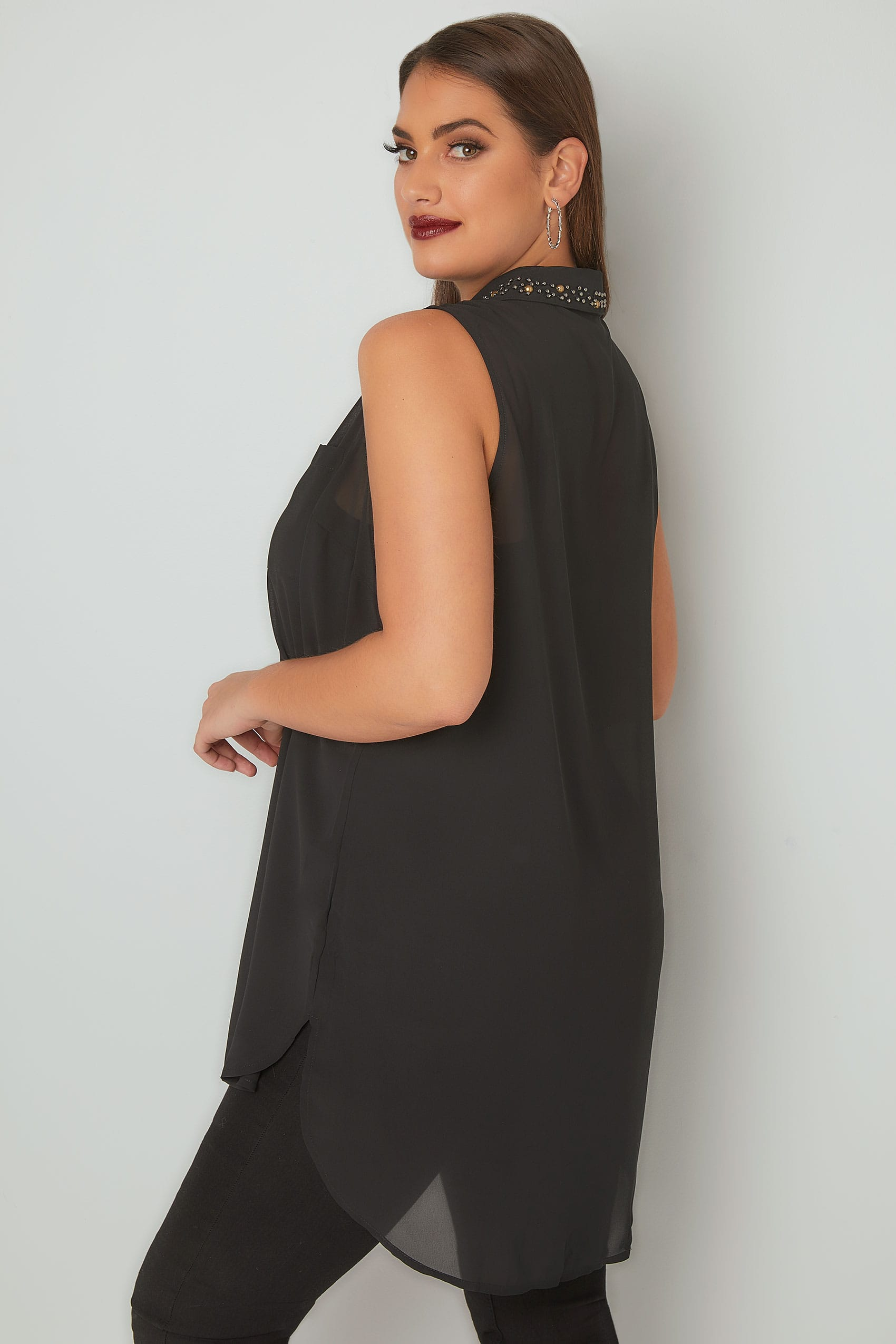 fed1831ce45 Black Sleeveless Chiffon Shirt With Embellished Collar