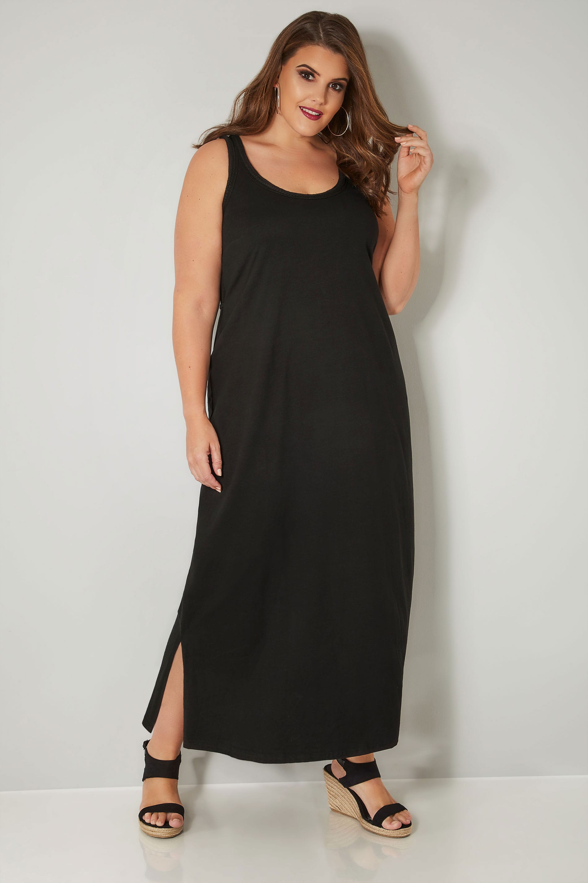 black sleeveless maxi dress with plait trim plus size 16. Black Bedroom Furniture Sets. Home Design Ideas