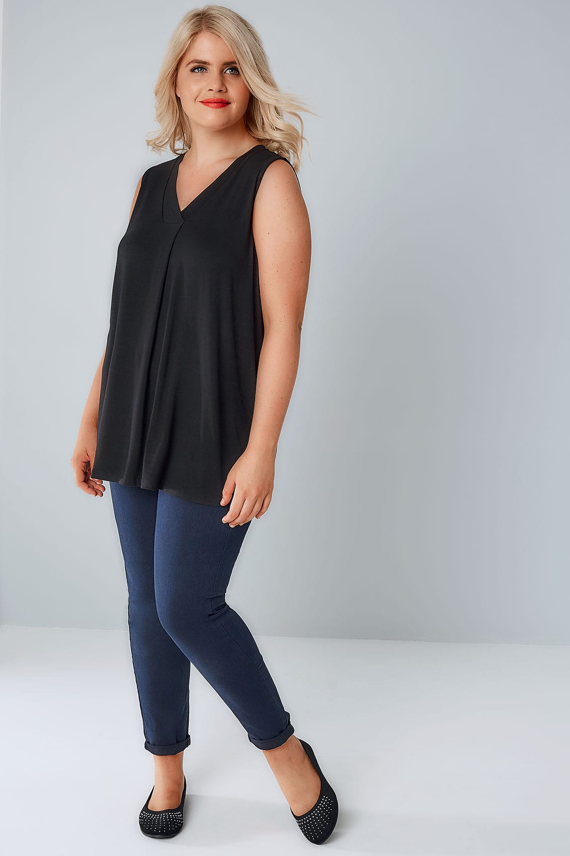 Rooms: Black Sleeveless V-Neck Jersey Top, Plus Size 16 To 36