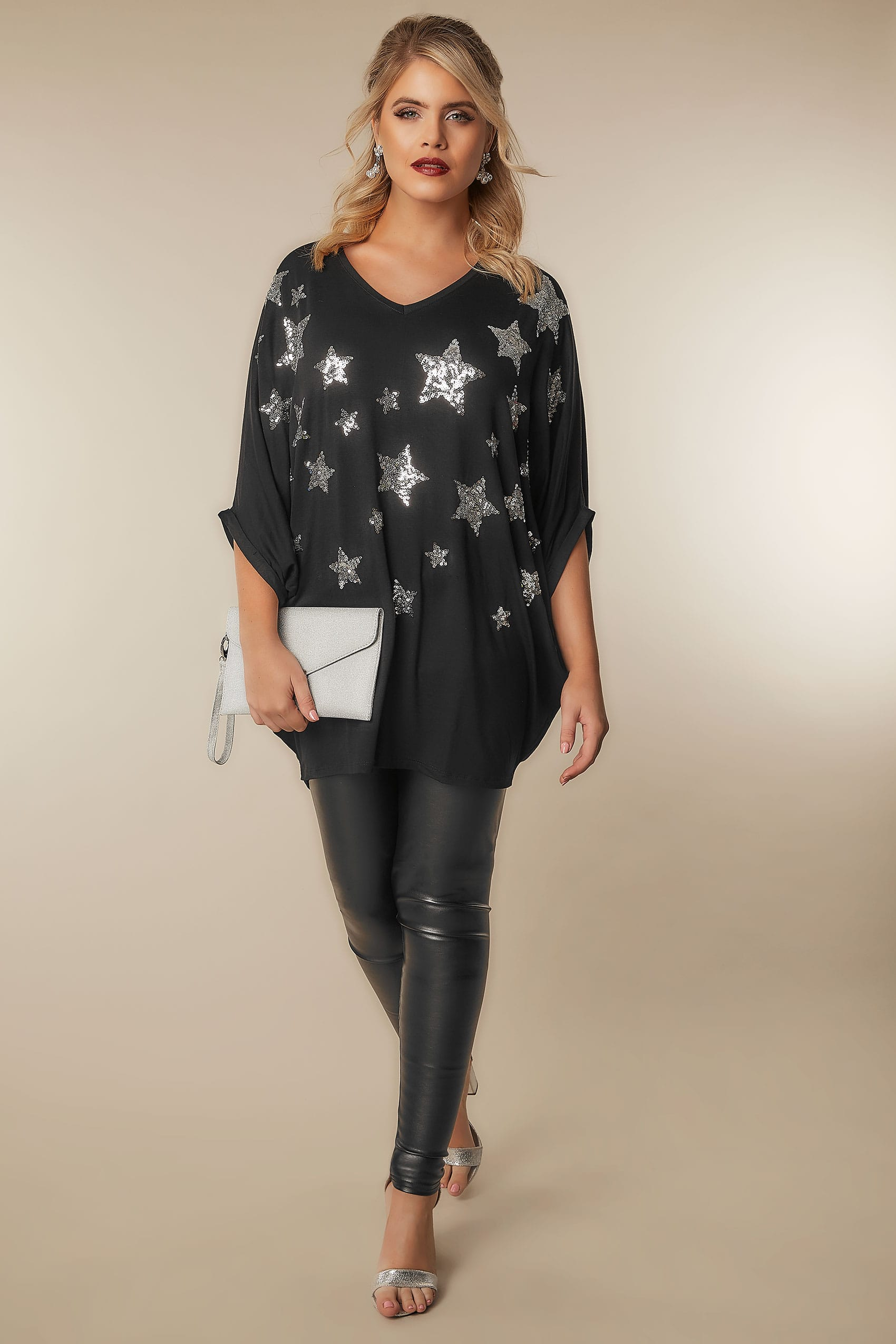 Yours london black star sequin embellished oversized jersey top with batwing sleeves 16 to 32 - Best shows to see in london ...