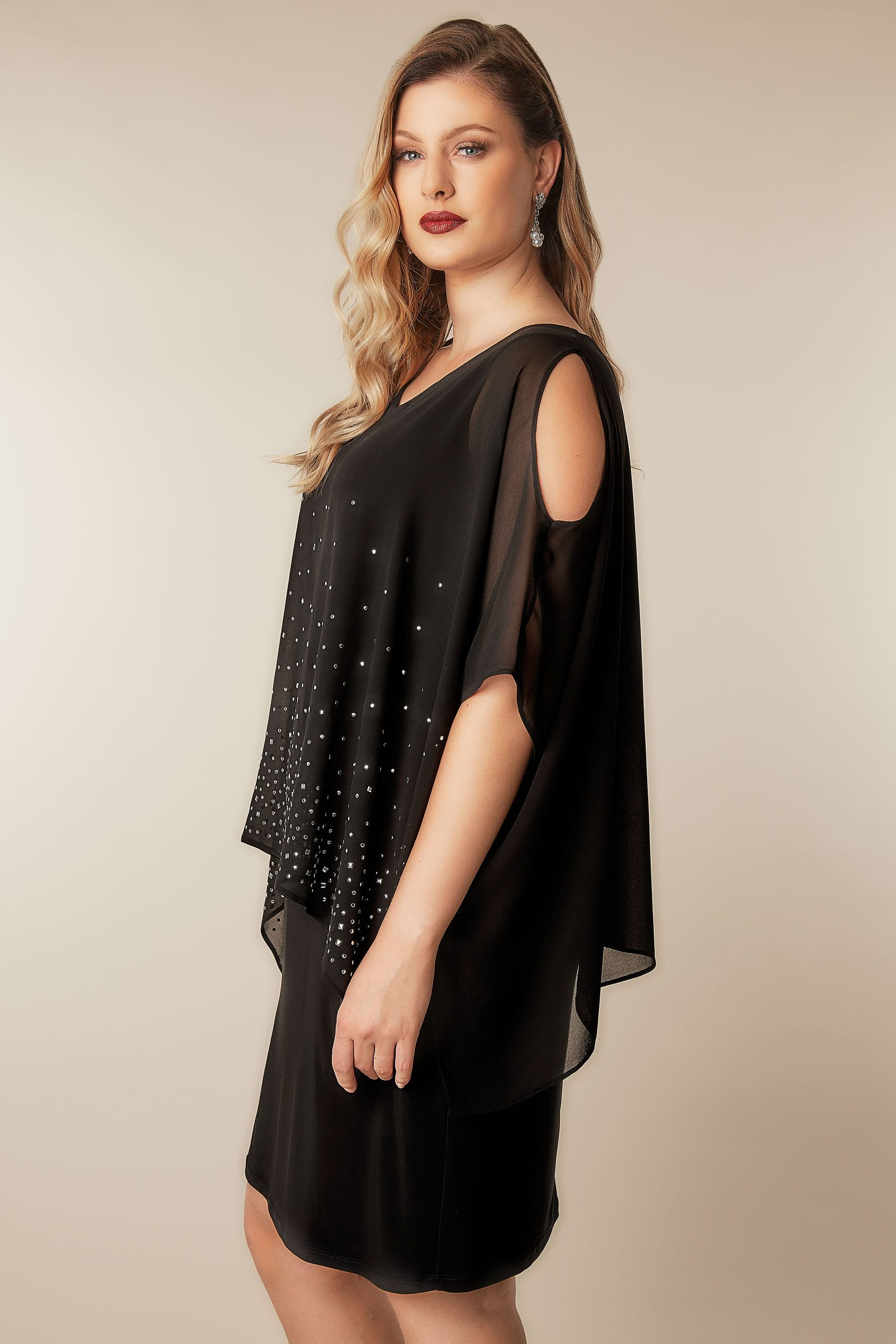 Black Studded Layered Cape Dress, Plus size 16 to 36