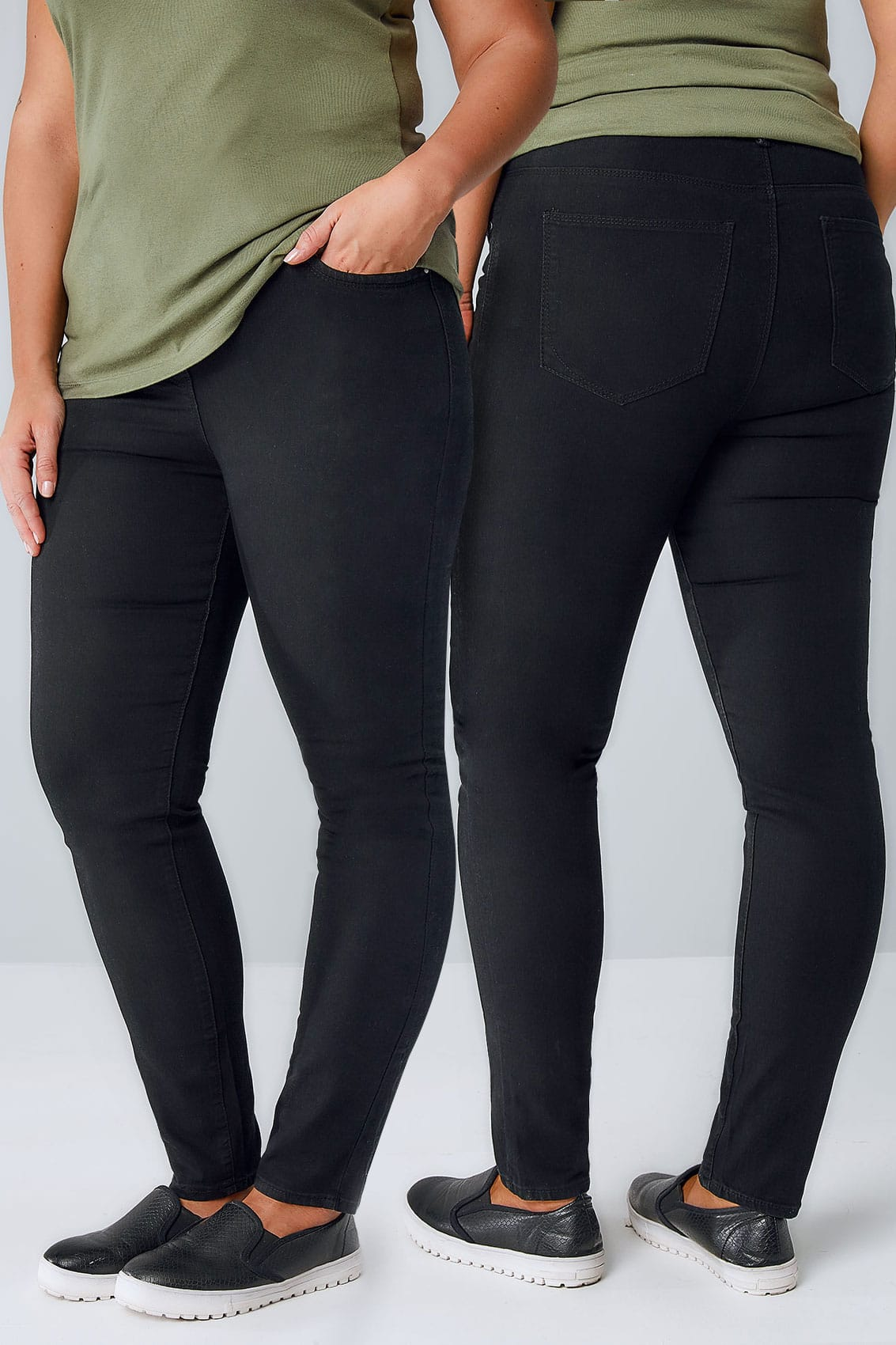 black super stretch skinny jeans, plus size 16 to 28
