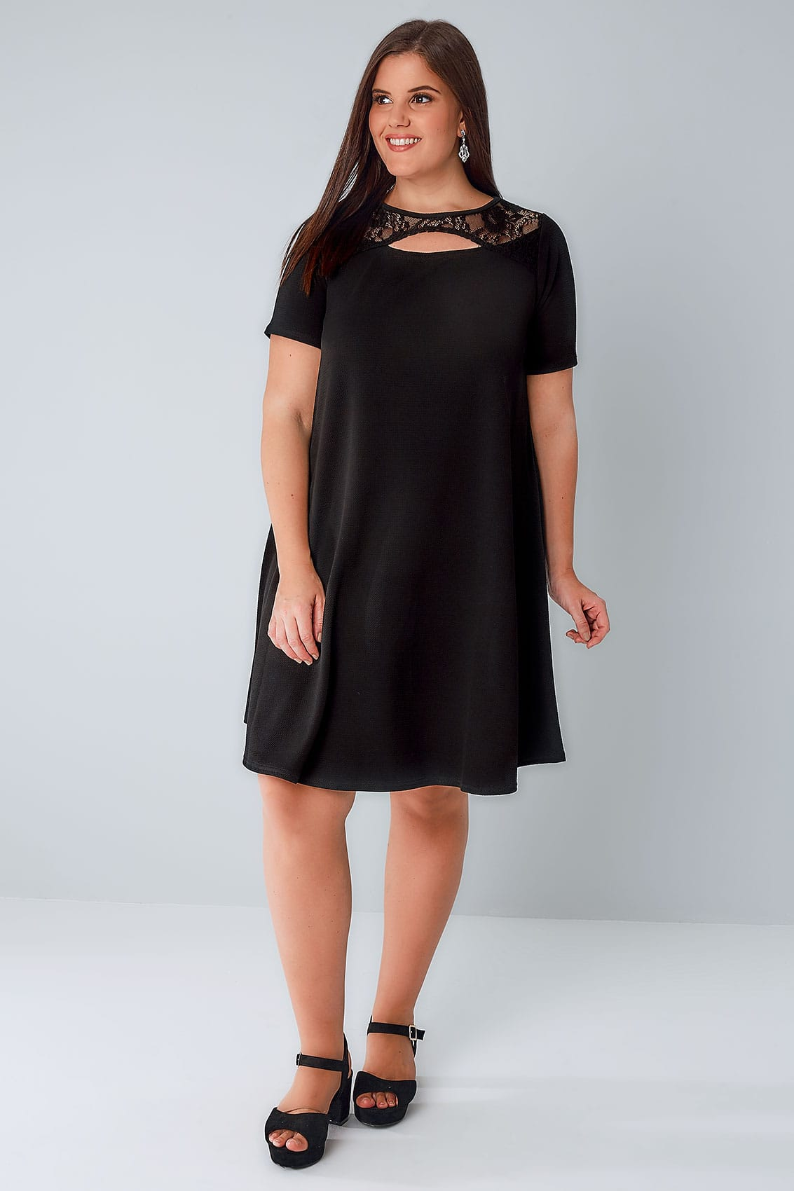 black swing dress with cut out neckline  u0026 lace panel plus