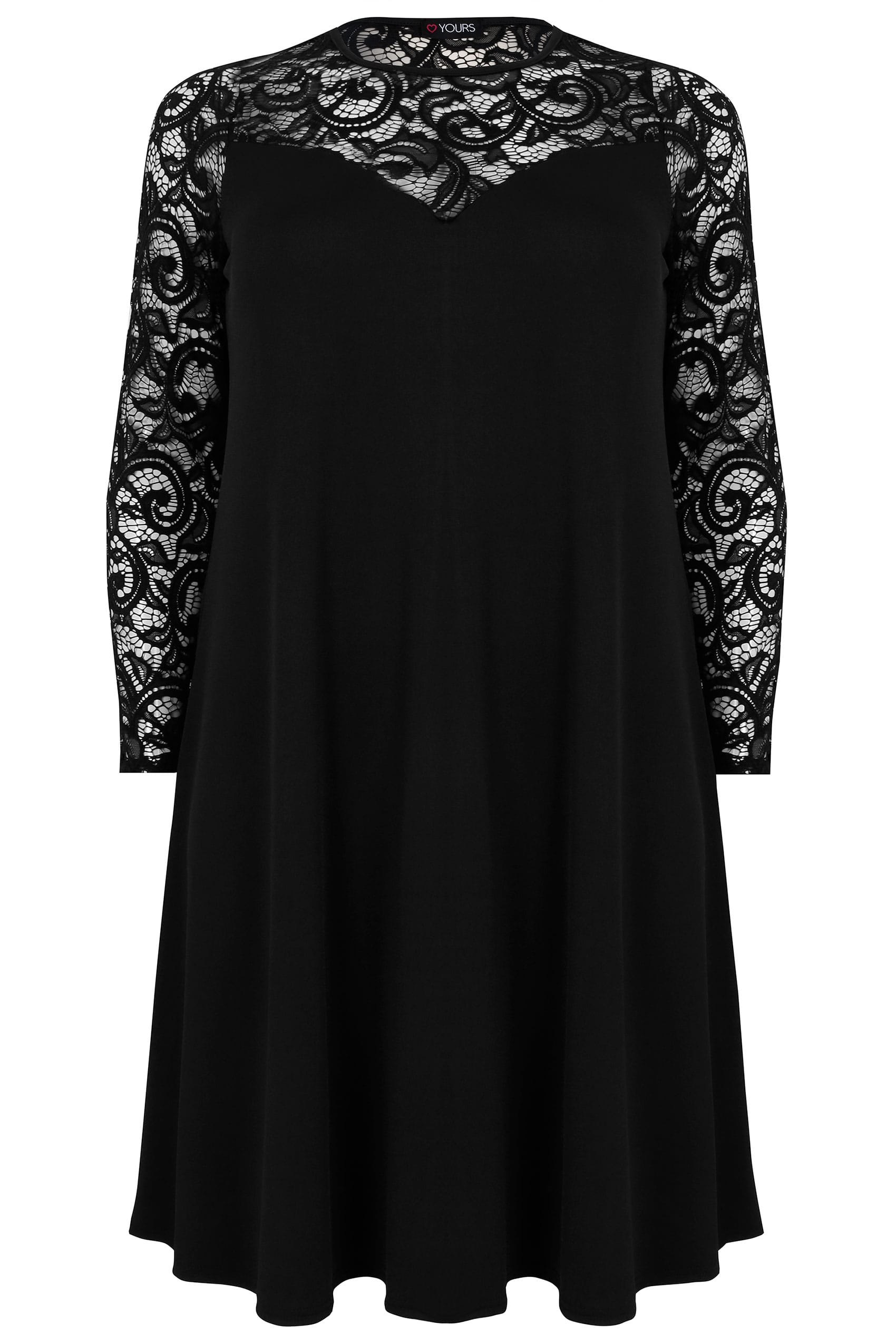 Black Swing Dress With Lace Yoke Sleeves Plus Size 16 To 36 Sabrina Hover Over The Images Above Enlarge