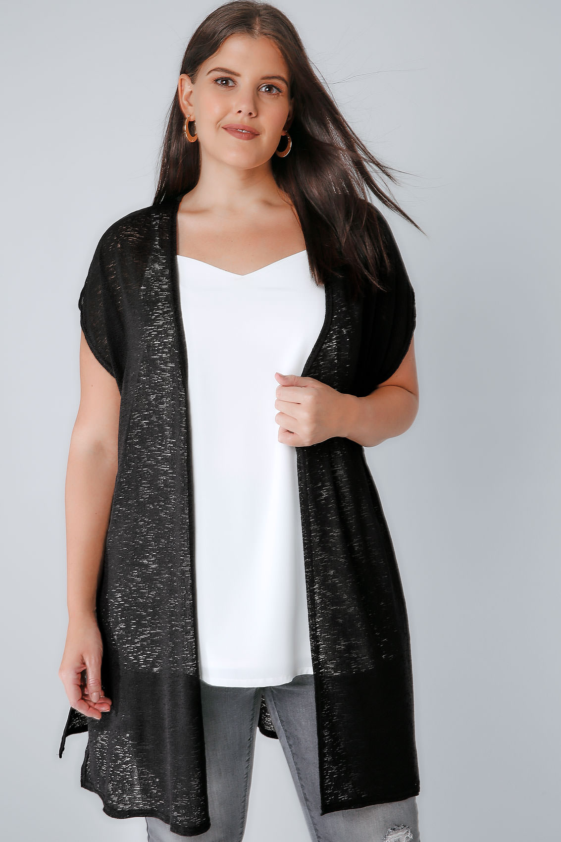 Black Textured Cardigan With Grown-On Short Sleeves, Plus Size 16 To 36-6063