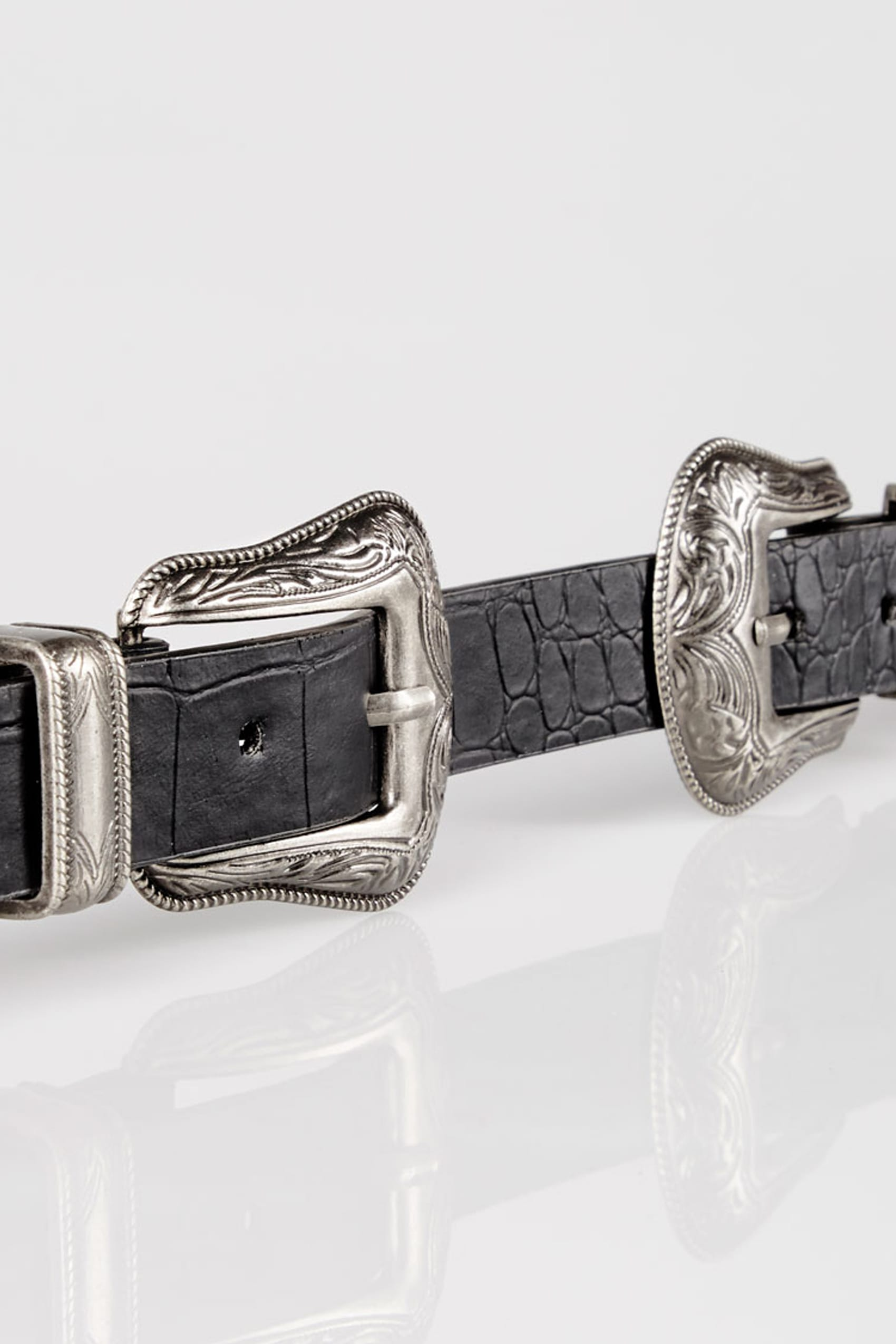 Black textured pu belt with double western style buckles for Buy here pay later