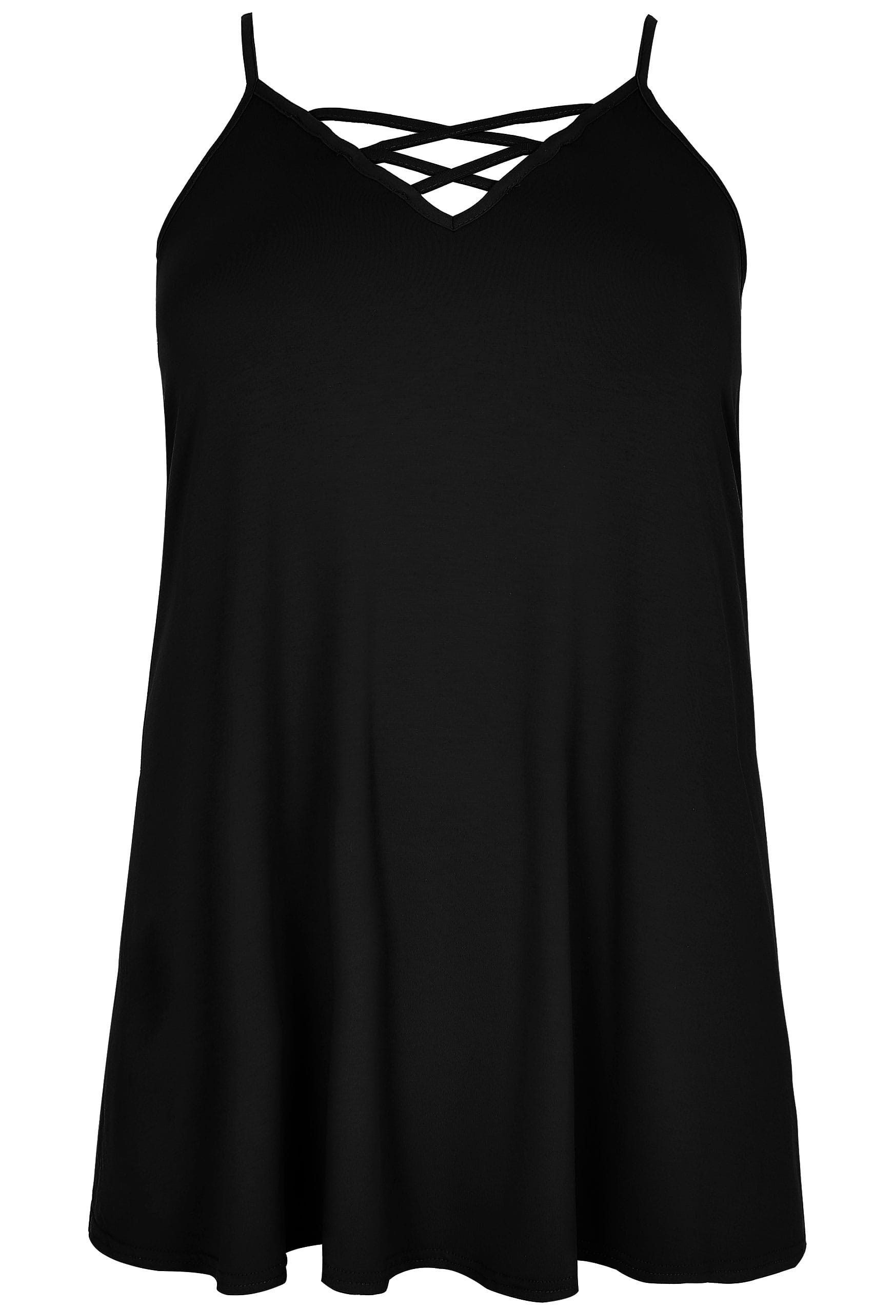 Black v neck vest top with cross front detail plus size for Vest top template