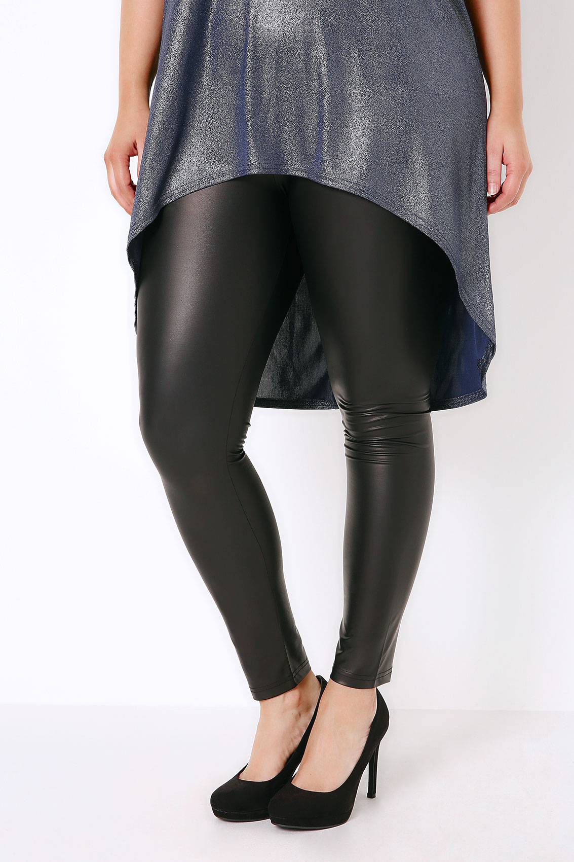 Black Wet Look Leggings With Elasticated Waist, Plus Size 16 to 36
