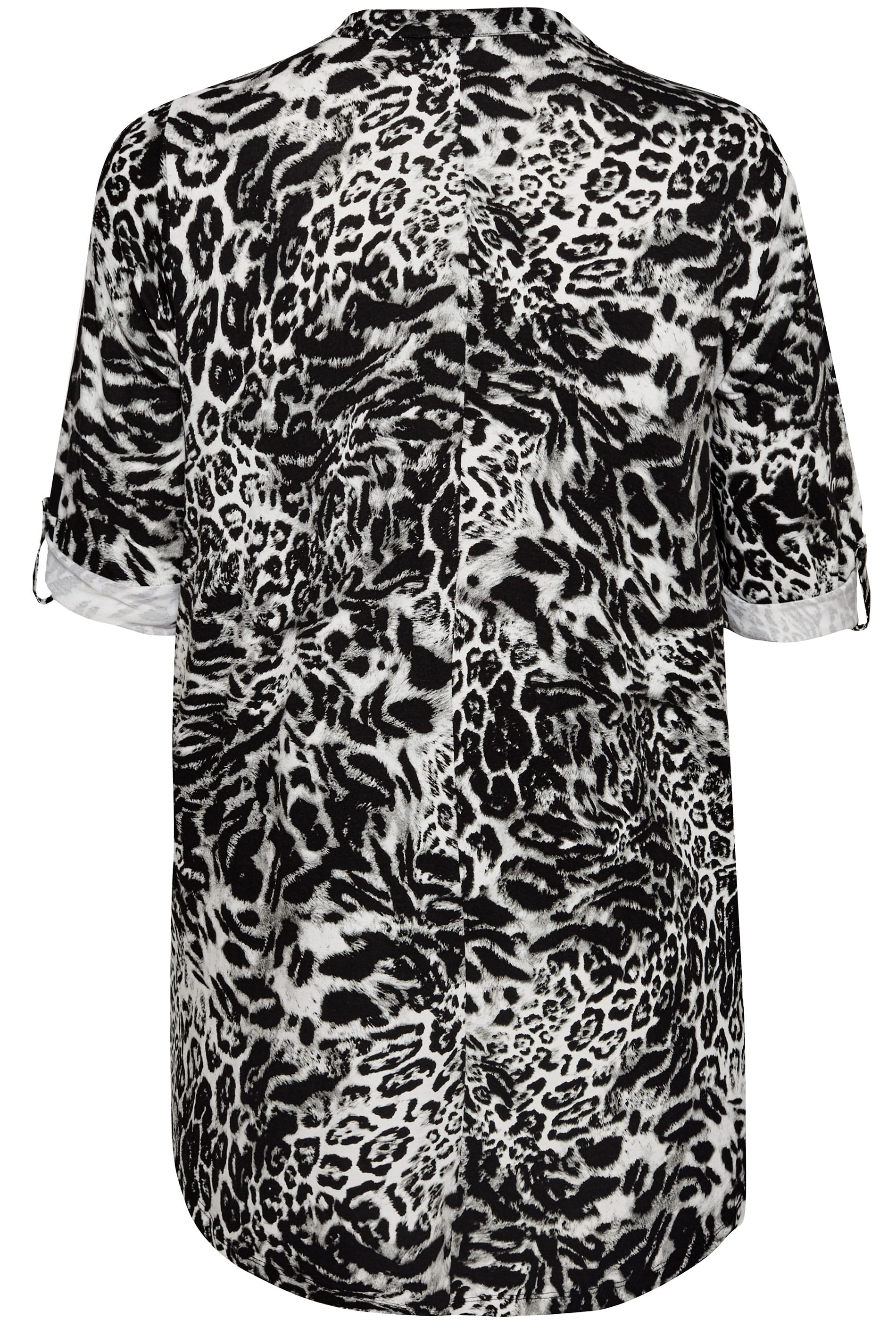 Plus Size Black Amp White Animal Print Zip Top Sizes 16 To