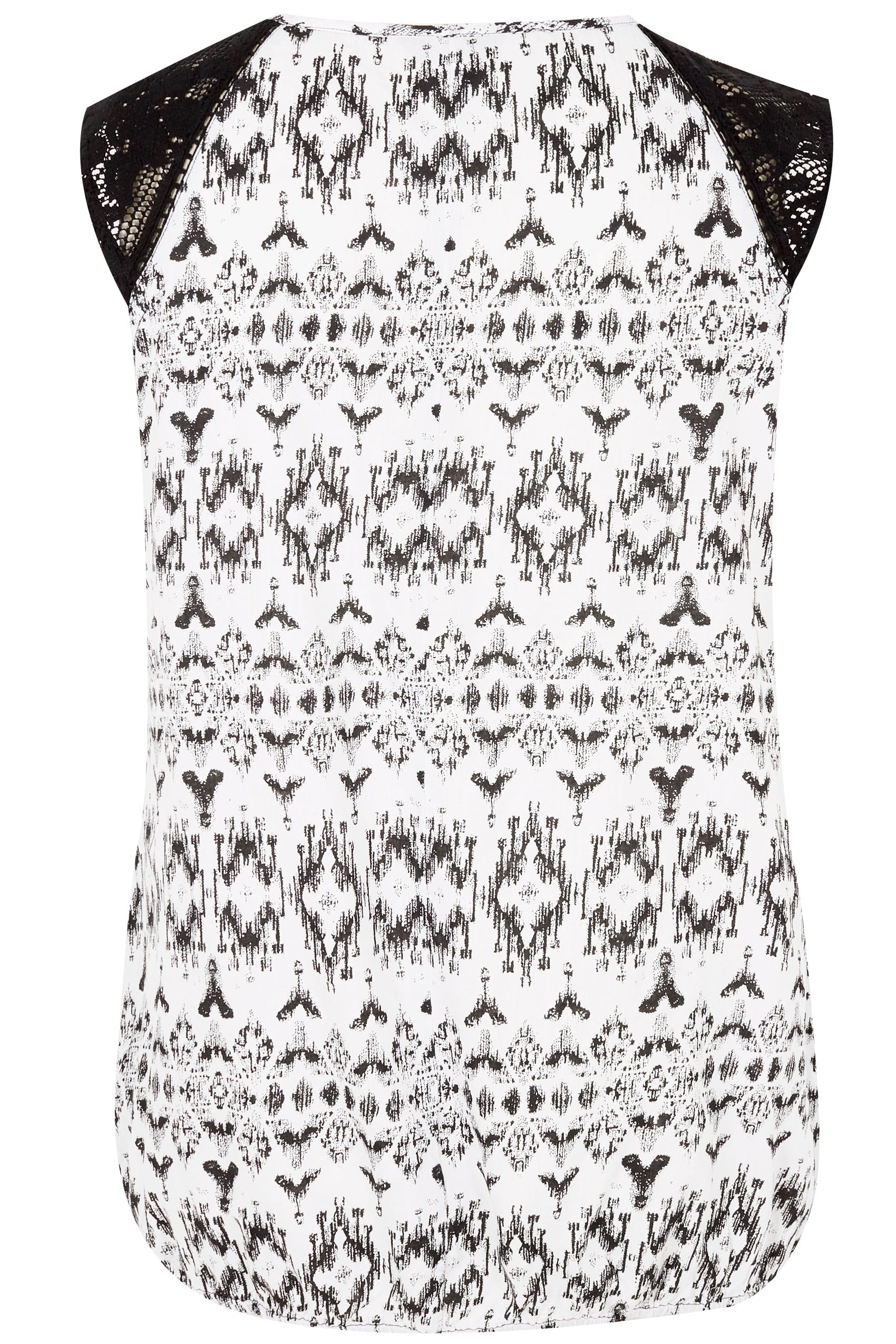 Black Amp White Aztec Print Sleeveless Bubble Top With Lace