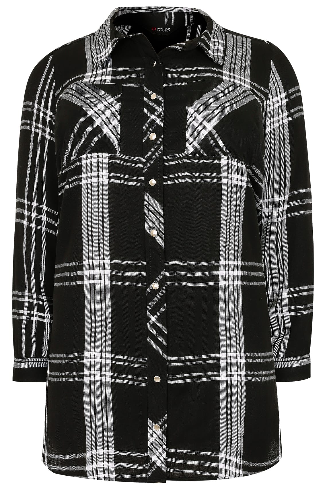 Black & White Checked Longline Boyfriend Shirt With ...